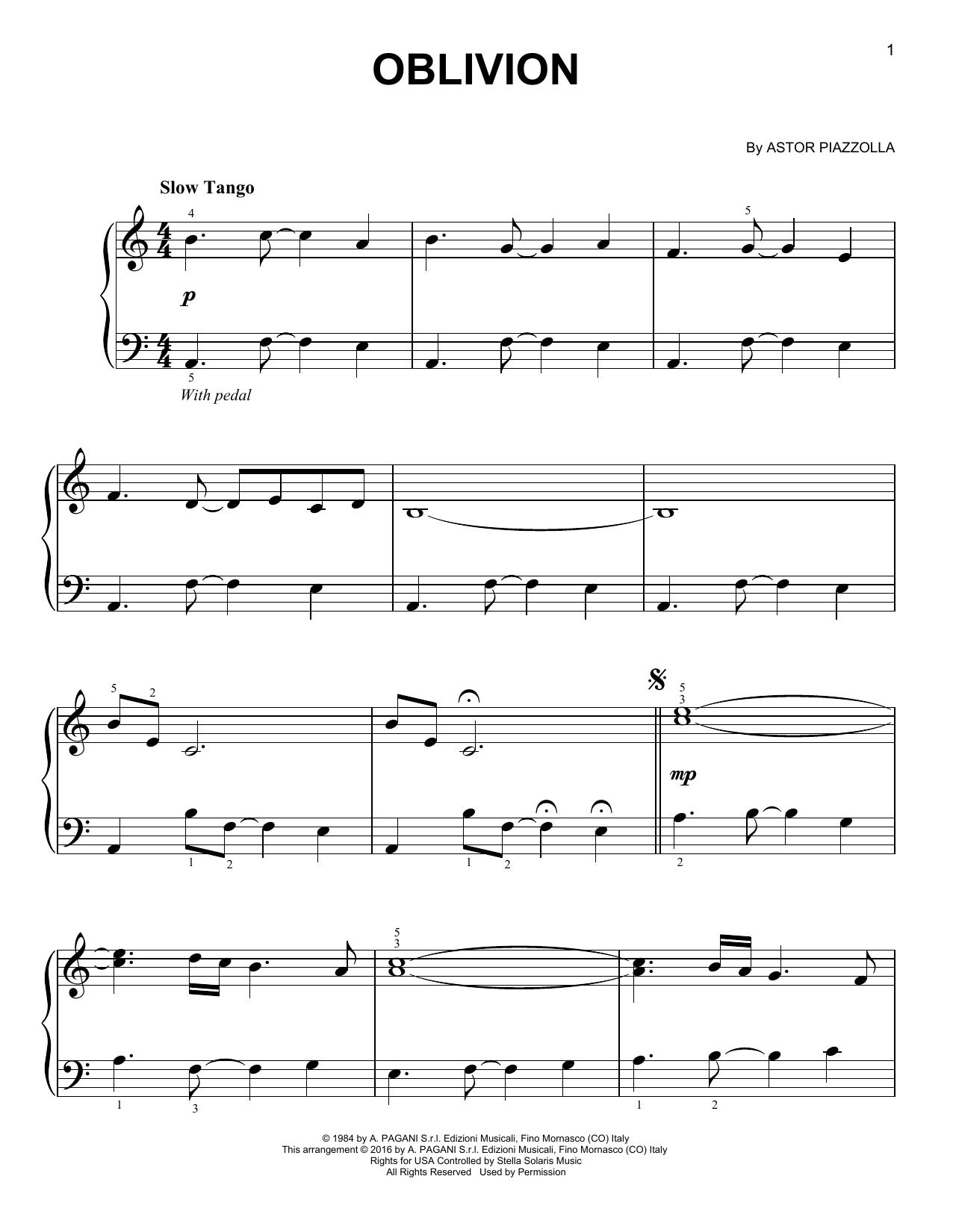 Partition piano Oblivion de Astor Piazzolla - Piano Facile