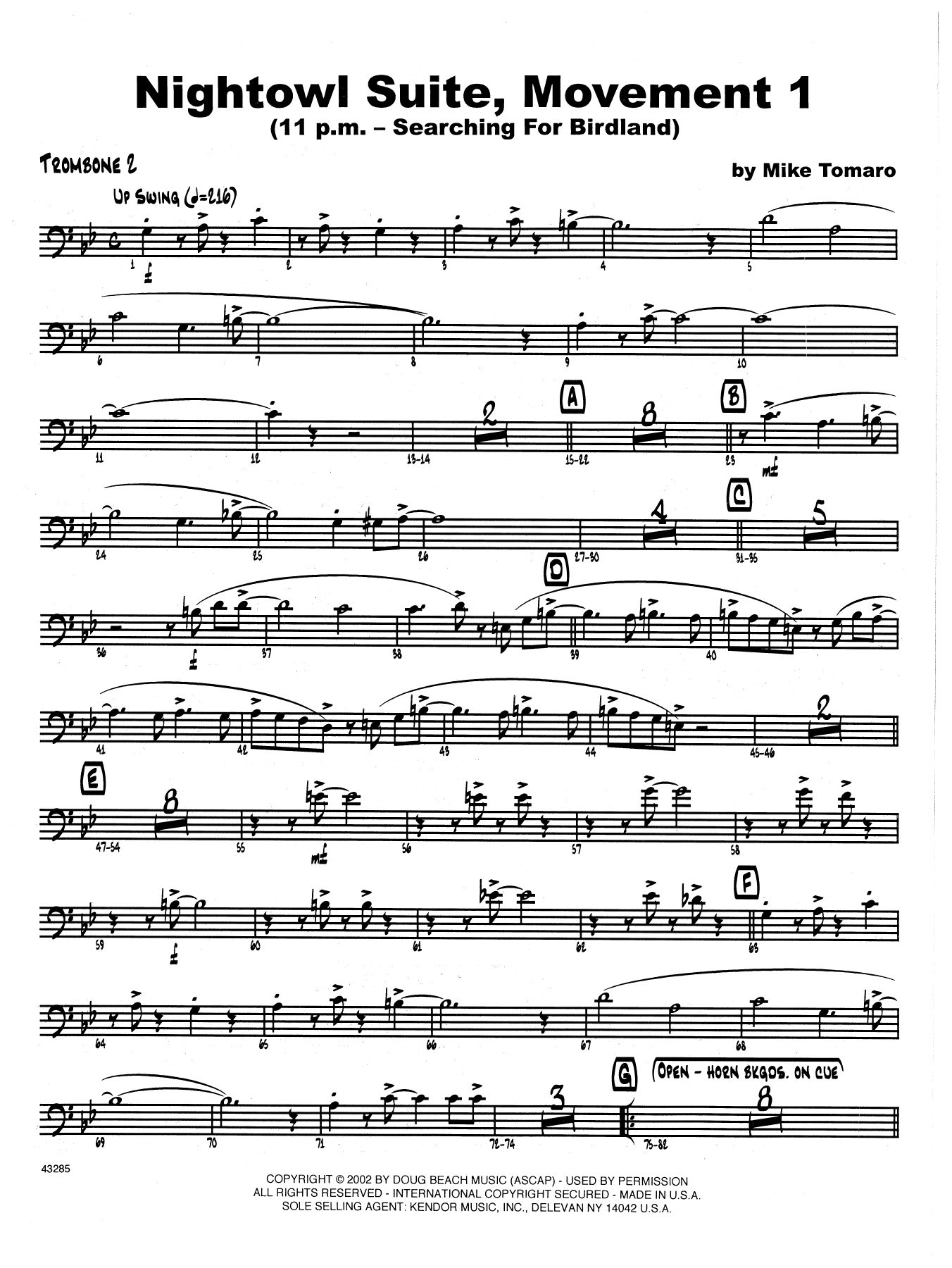 Nightowl Suite, Mvt. 1 - 2nd Trombone