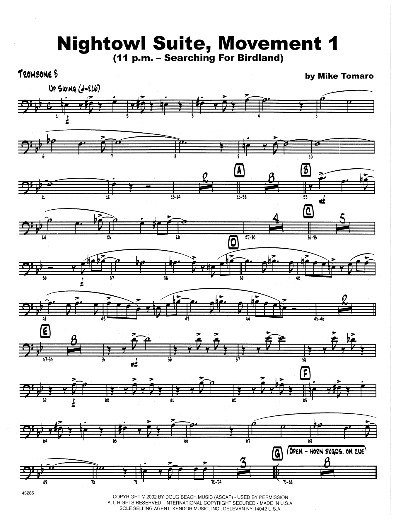 Nightowl Suite, Mvt. 1 - 3rd Trombone