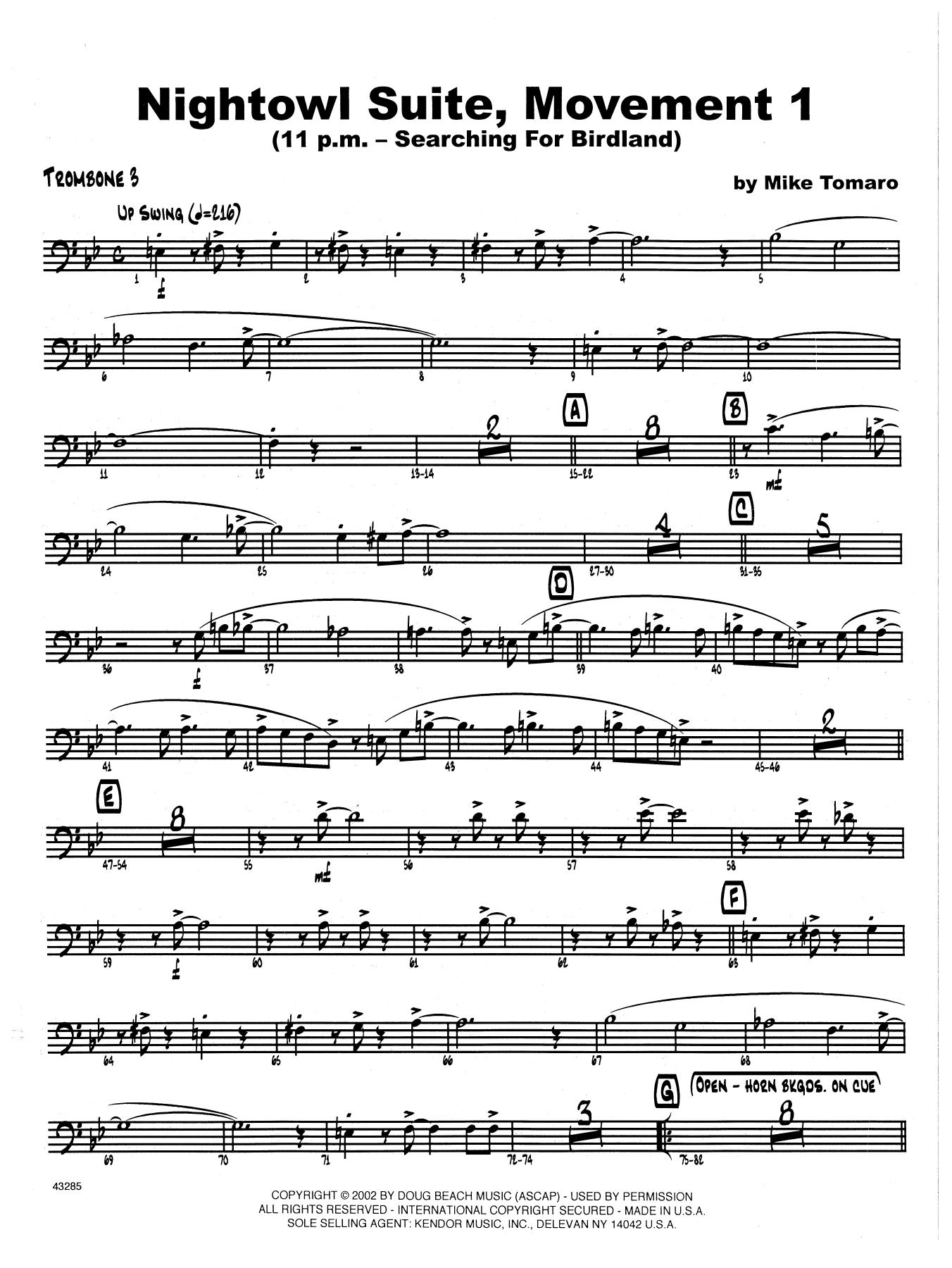 Nightowl Suite, Mvt. 1 - 3rd Trombone