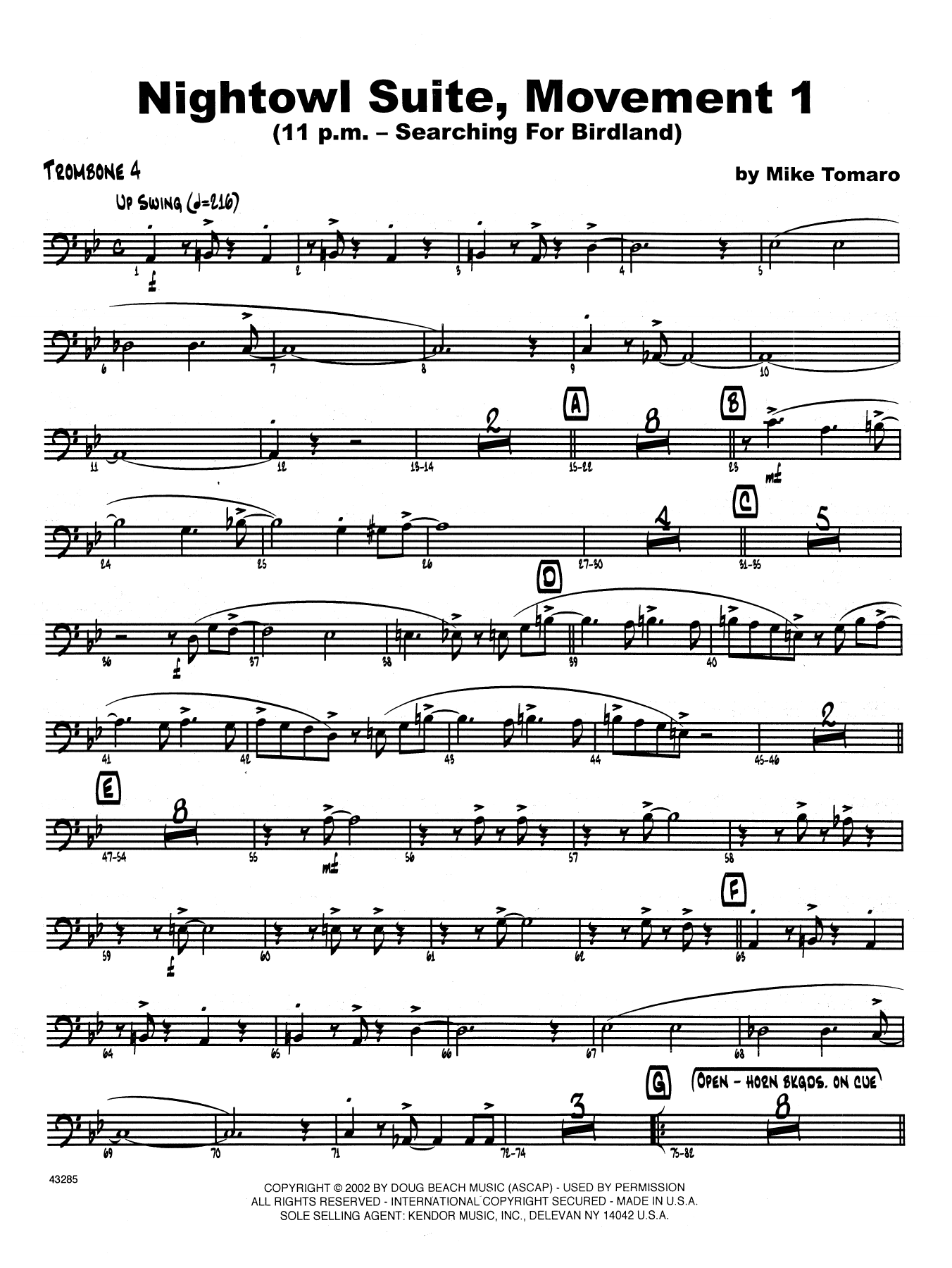 Nightowl Suite, Mvt. 1 - 4th Trombone