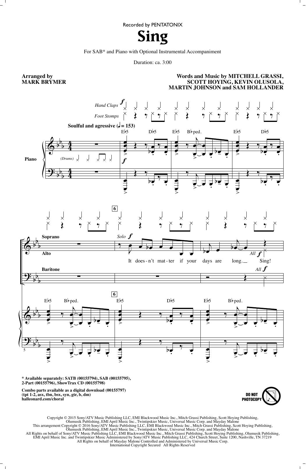 Partition chorale Sing de Pentatonix - SAB