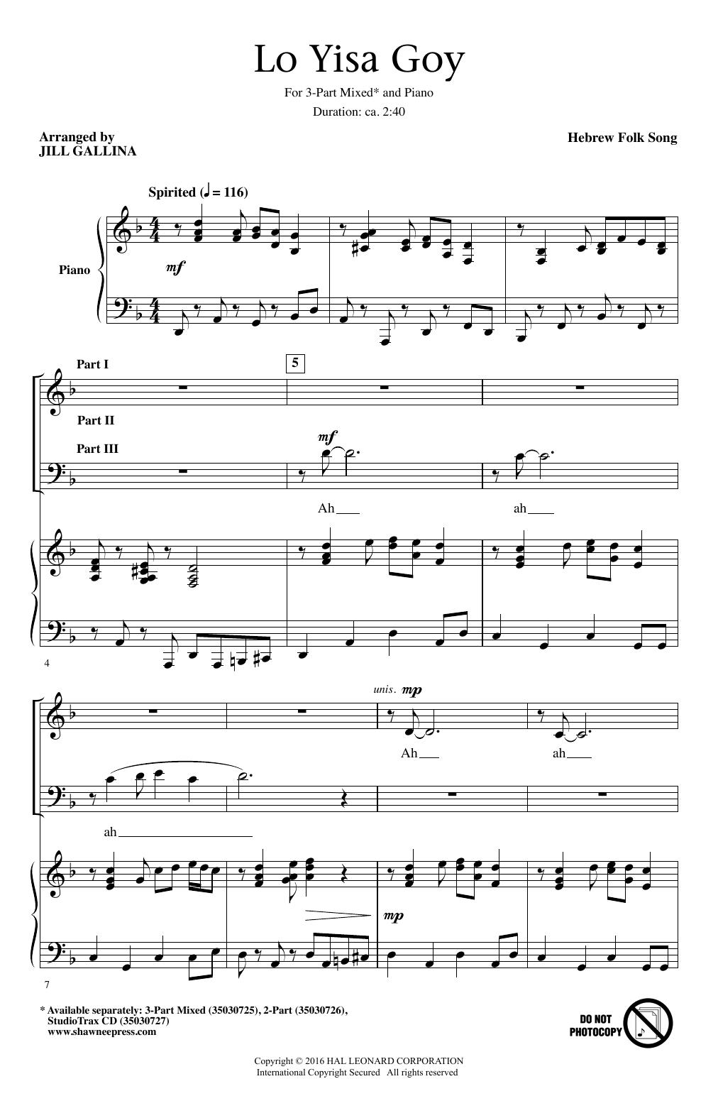 Partition chorale Lo Yisa Goy de Hebrew Folk Song - 3 voix mixtes