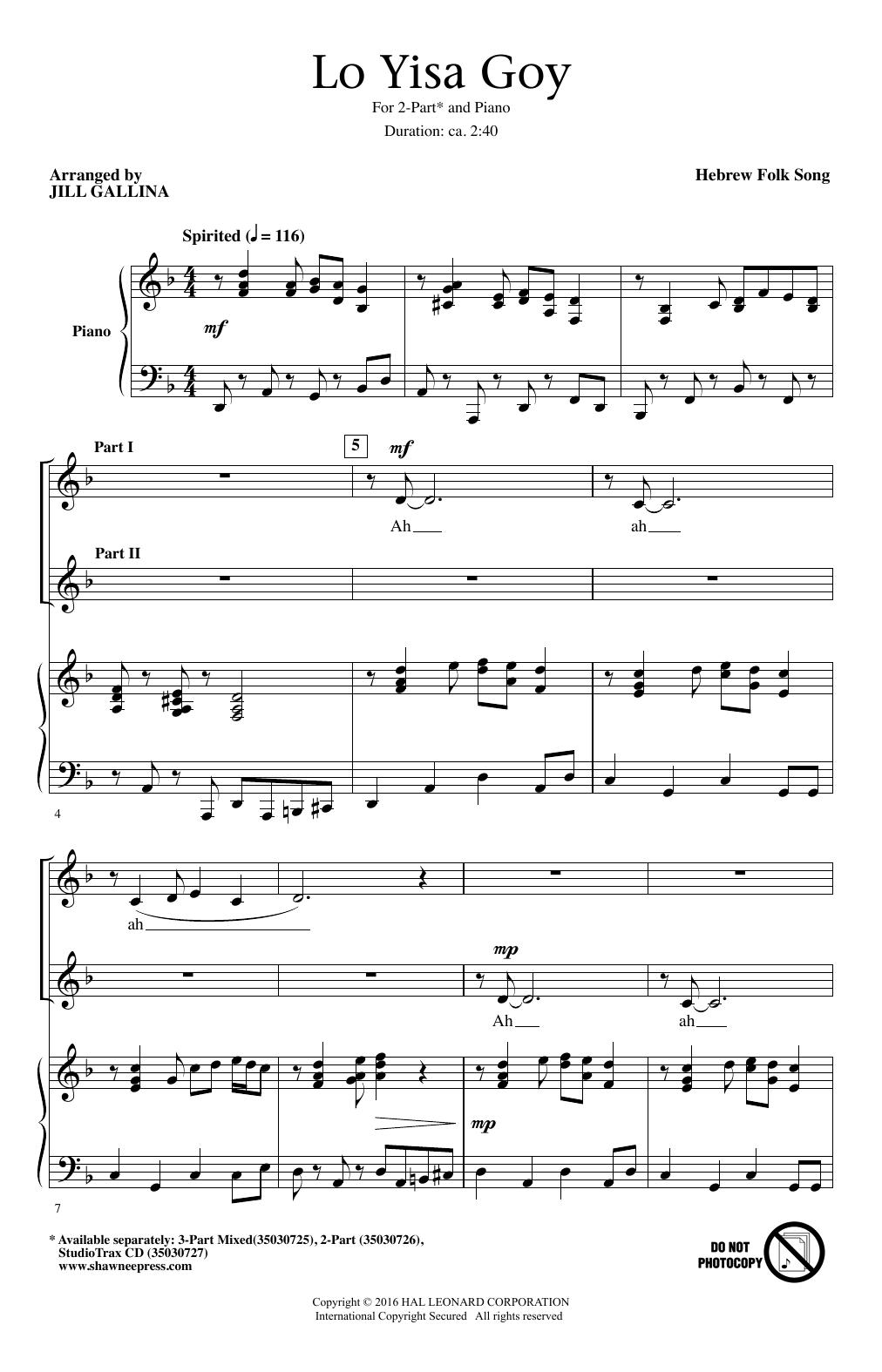 Partition chorale Lo Yisa Goy de Hebrew Folk Song - 2 voix