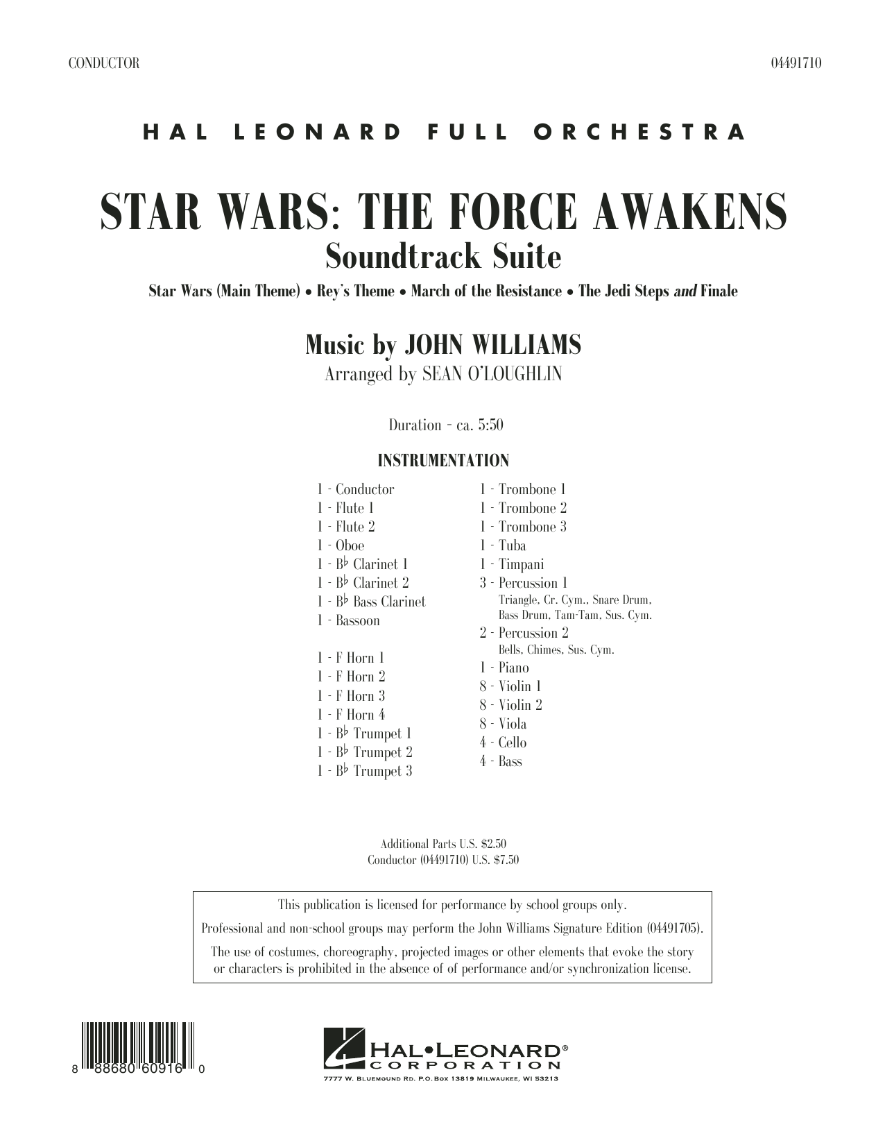 John Williams - Star Wars: The Force Awakens Soundtrack Suite - Conductor Score (Full Score)