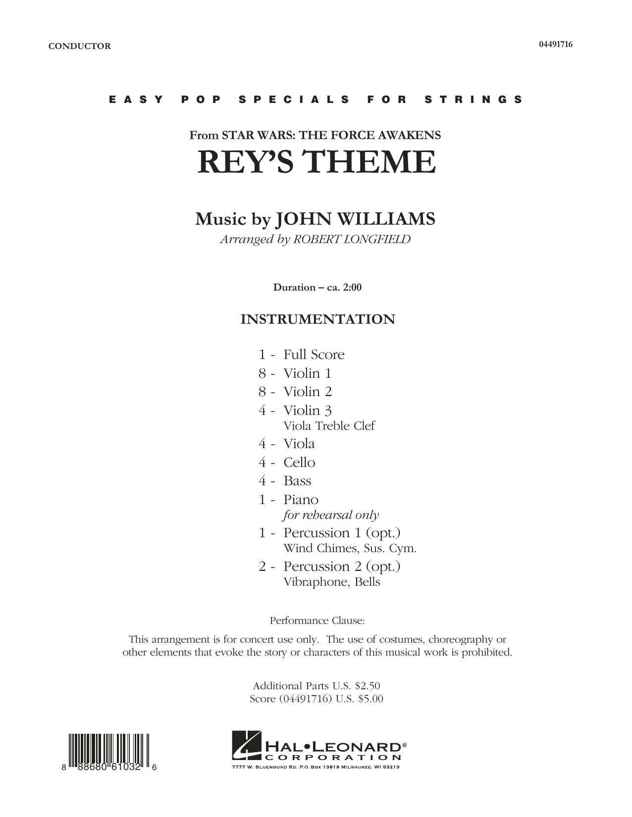 Rey's Theme (from Star Wars: The Force Awakens) (COMPLETE) sheet music for orchestra by Robert Longfield