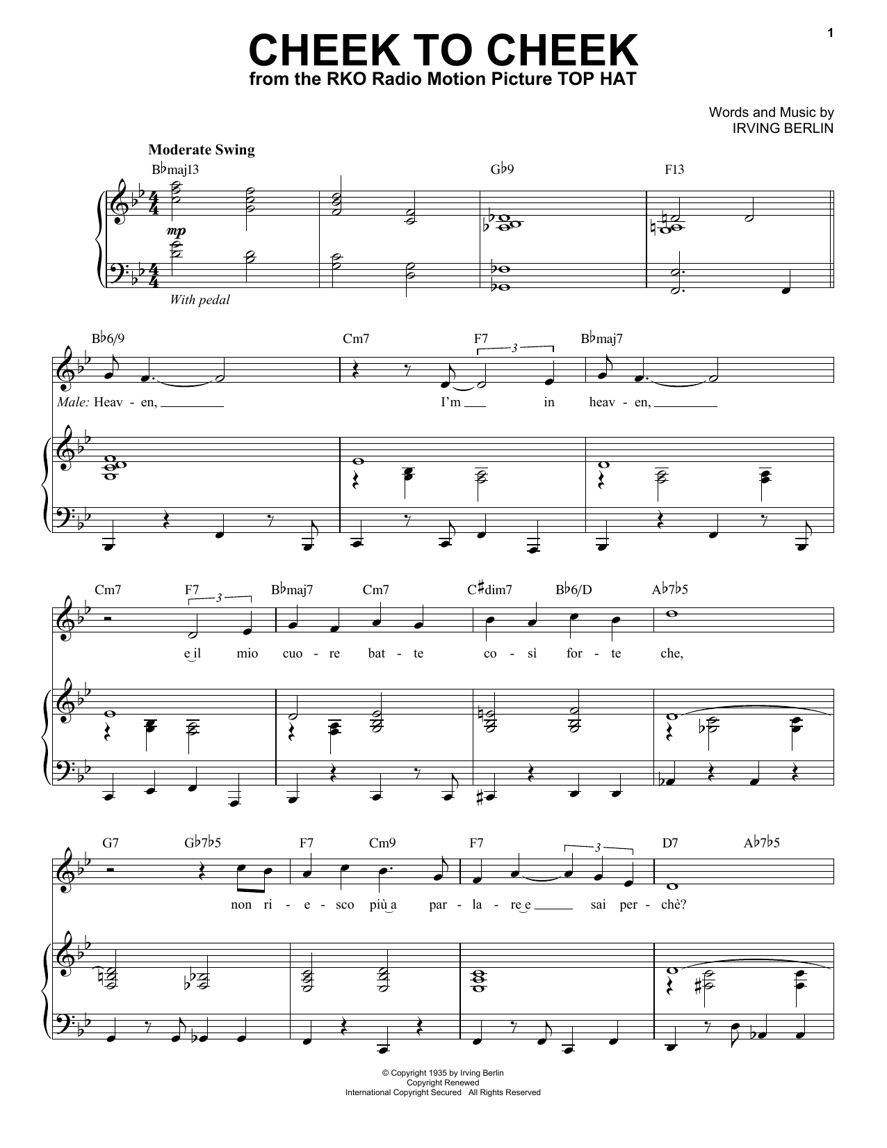 Partition piano Cheek To Cheek de Andrea Bocelli - Piano Voix