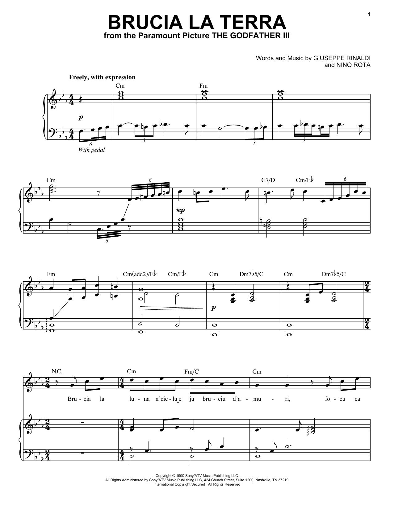 Partition piano Brucia La Terra de Andrea Bocelli - Piano Voix