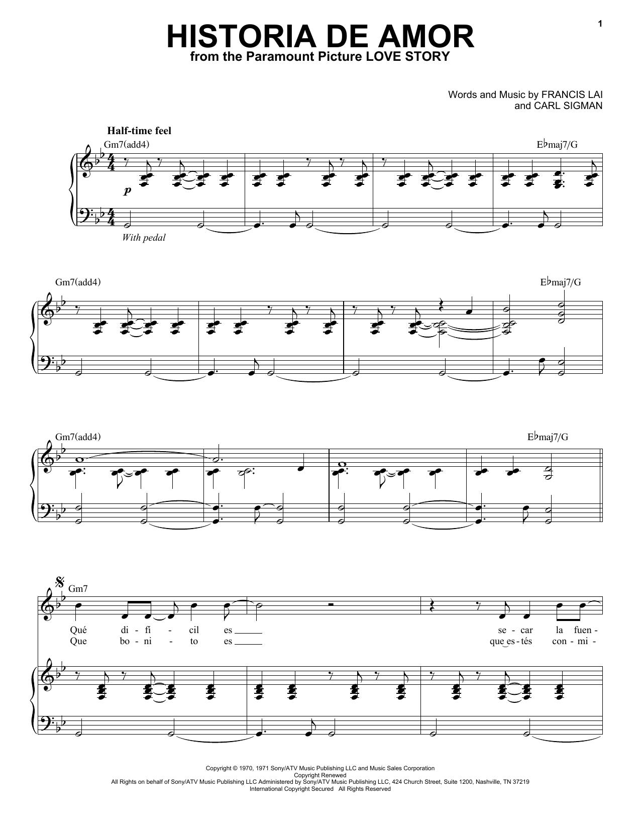 Partition piano Historia De Amor de Andrea Bocelli - Piano Voix