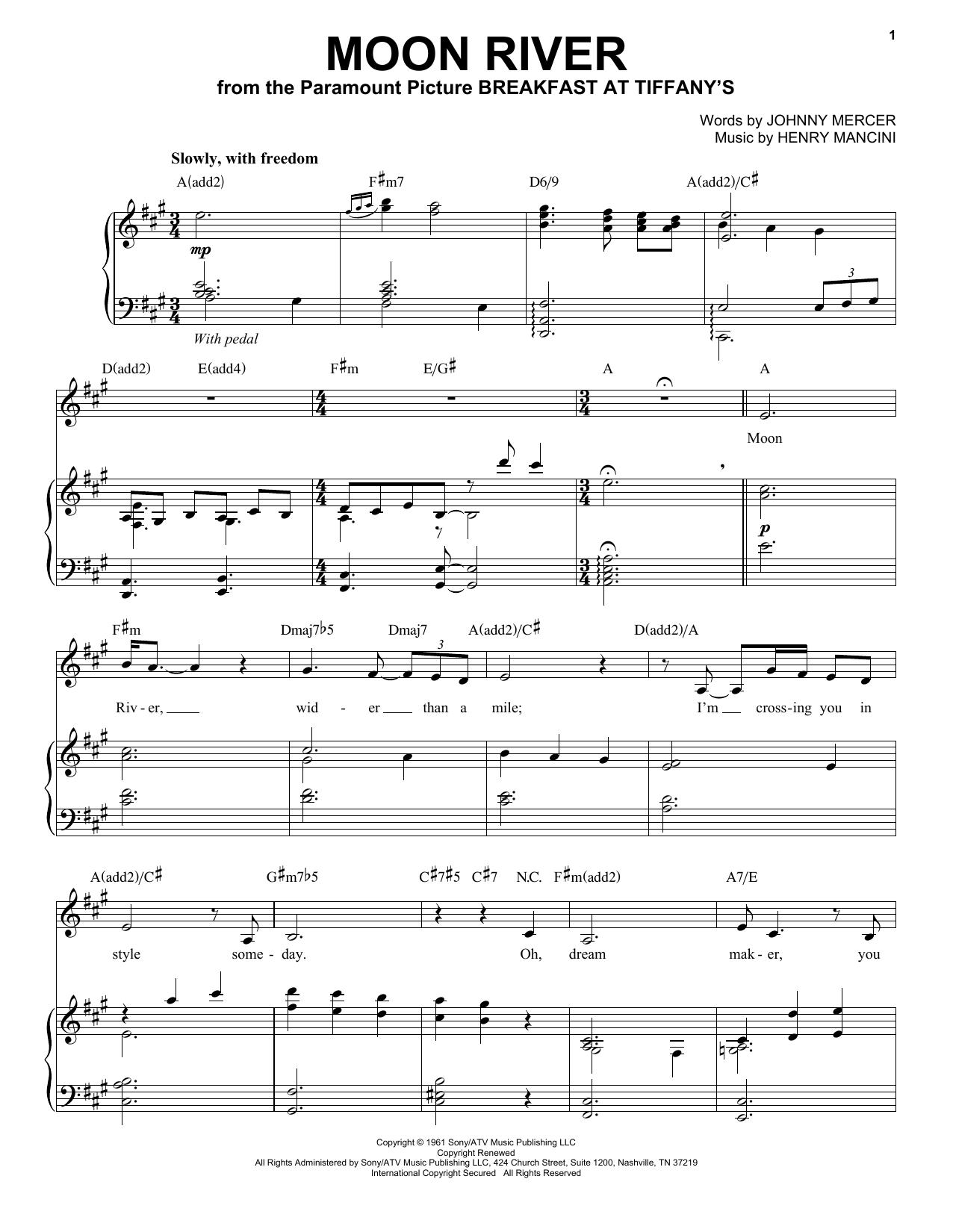 Partition piano Moon River de Andrea Bocelli - Piano Voix