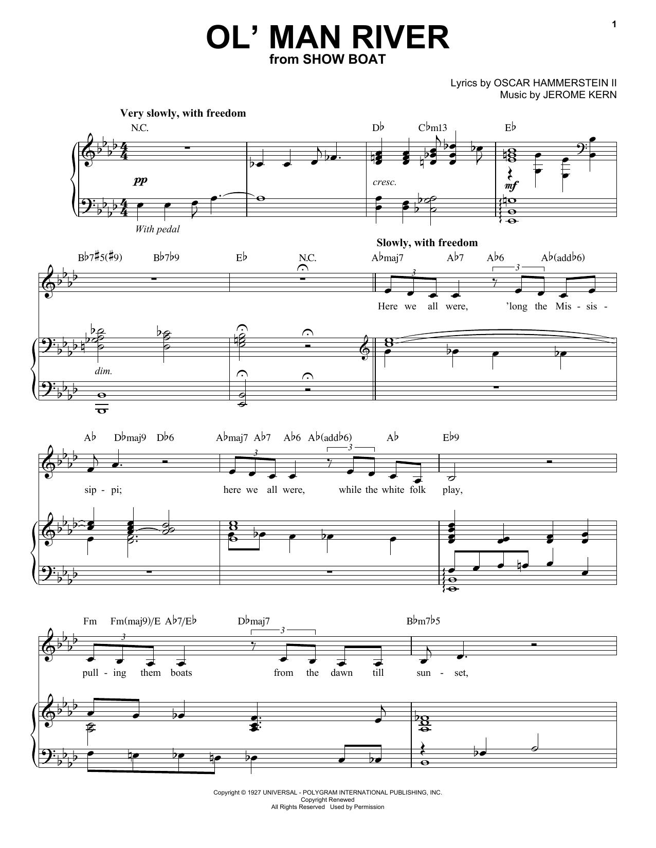 Partition piano Ol' Man River de Andrea Bocelli - Piano Voix