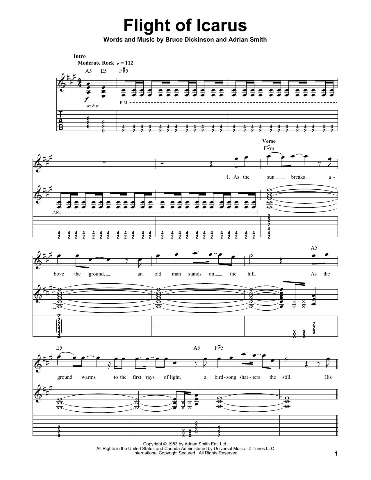 Tablature guitare Flight Of Icarus de Iron Maiden - Tablature Guitare