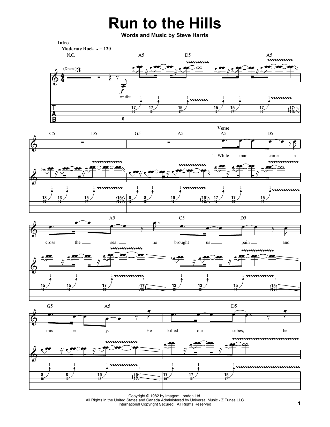 Tablature guitare Run To The Hills de Iron Maiden - Tablature Guitare