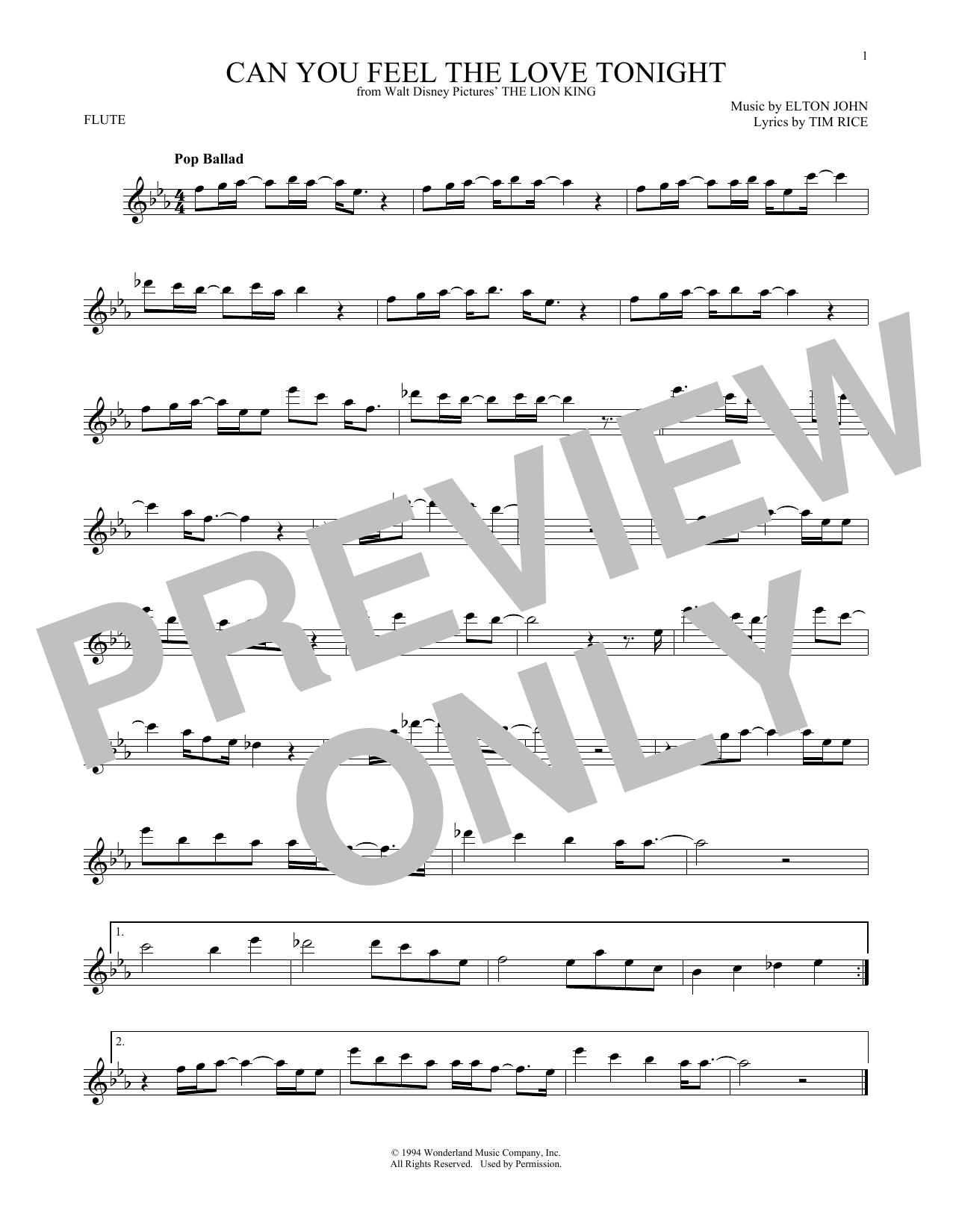 Partition flûte Can You Feel The Love Tonight de Elton John - Flute traversiere