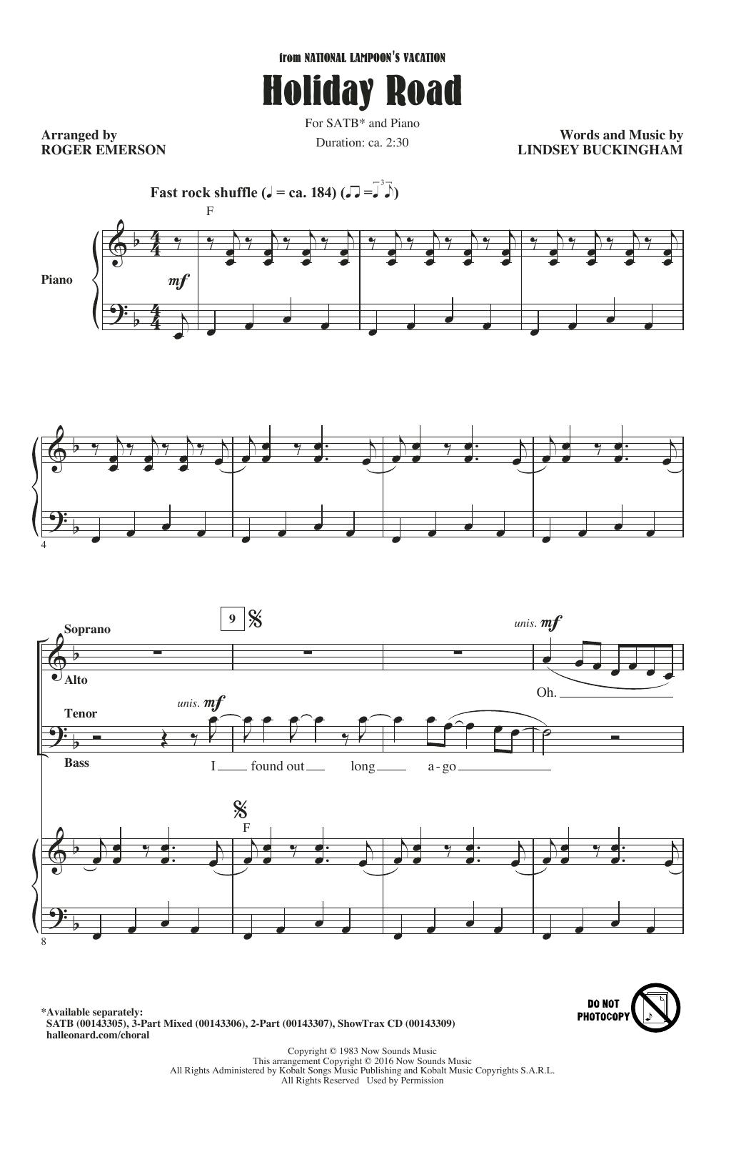 Partition chorale Holiday Road de  - SATB