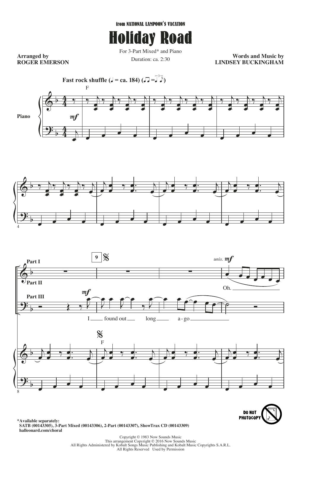 Partition chorale Holiday Road de  - 3 voix mixtes