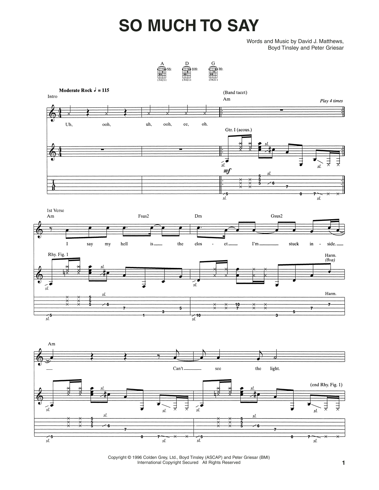 Tablature guitare So Much To Say de Dave Matthews Band - Tablature Guitare