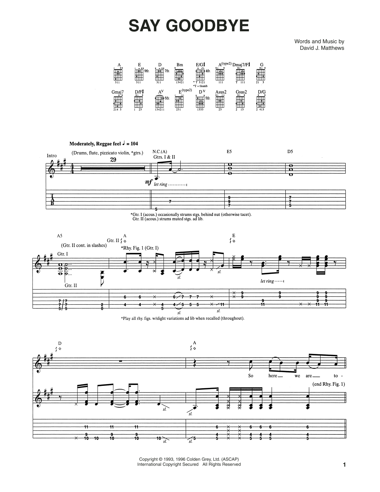 Tablature guitare Say Goodbye de Dave Matthews Band - Tablature Guitare