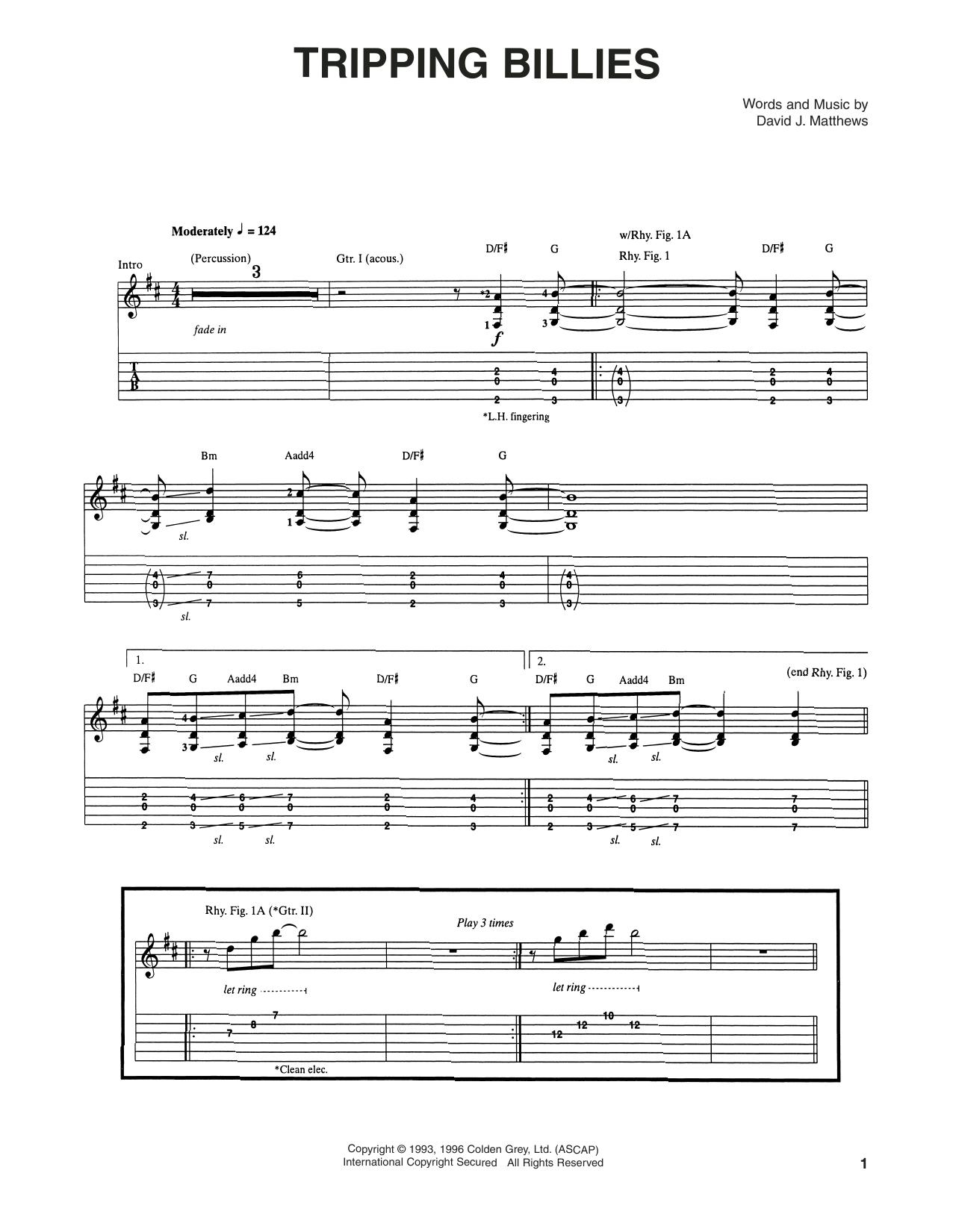 Tablature guitare Tripping Billies de Dave Matthews Band - Tablature Guitare