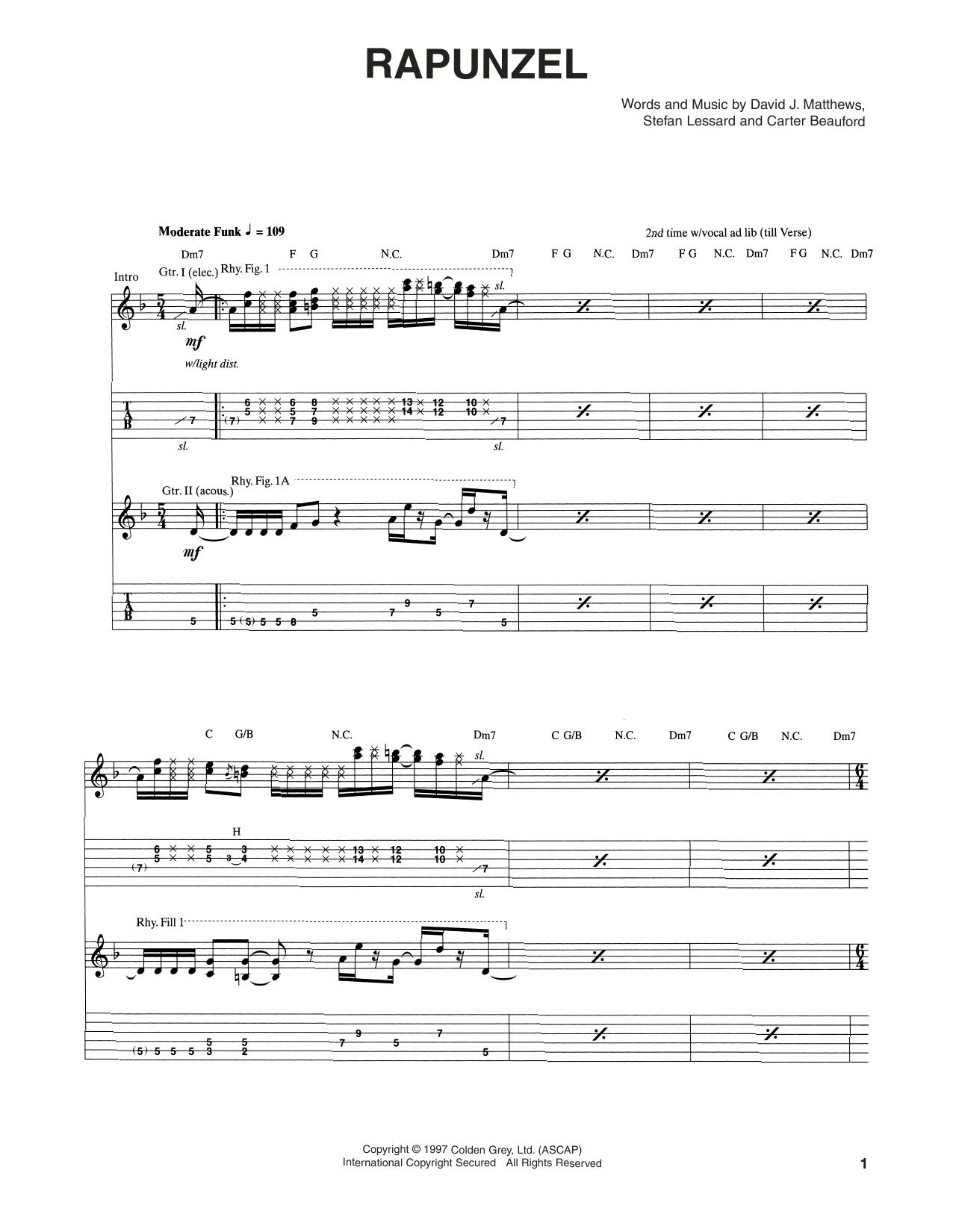 Tablature guitare Rapunzel de Dave Matthews Band - Tablature Guitare
