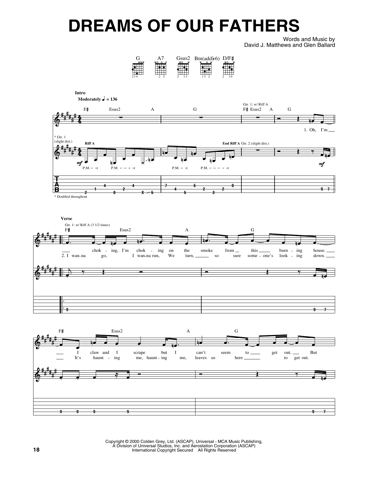 Tablature guitare Dreams Of Our Fathers de Dave Matthews Band - Tablature Guitare
