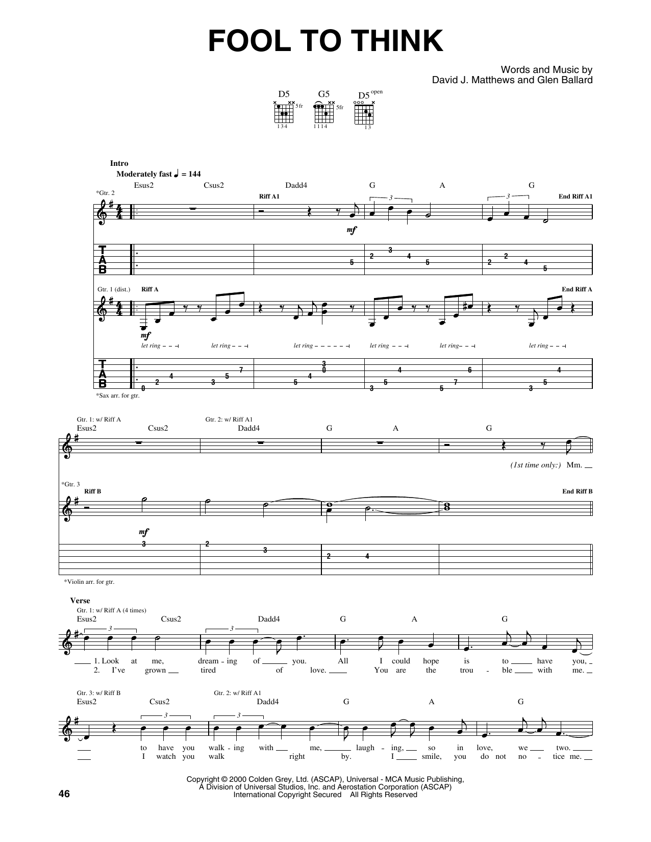 Tablature guitare Fool To Think de Dave Matthews Band - Tablature Guitare