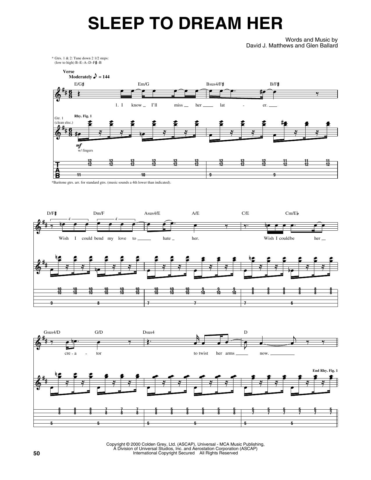 Tablature guitare Sleep To Dream Her de Dave Matthews Band - Tablature Guitare