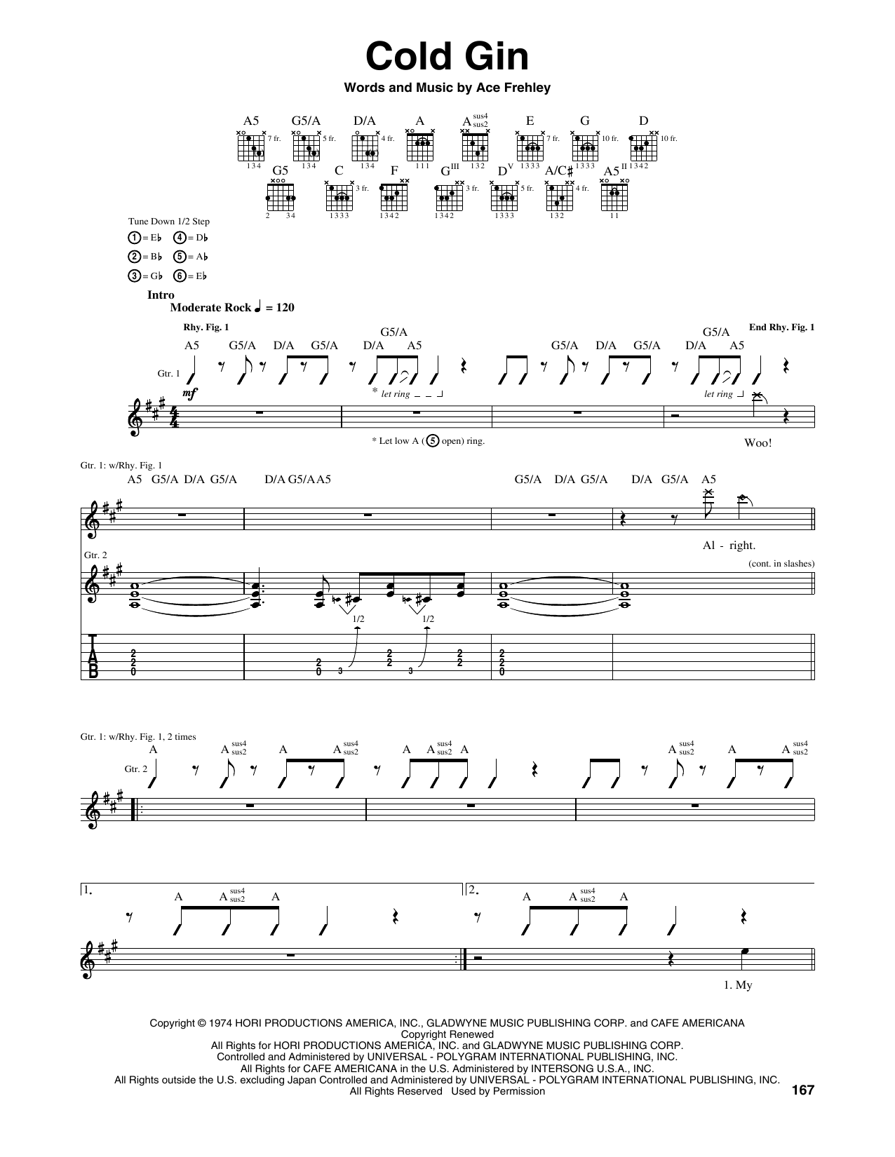 Tablature guitare Cold Gin de Kiss - Tablature Guitare