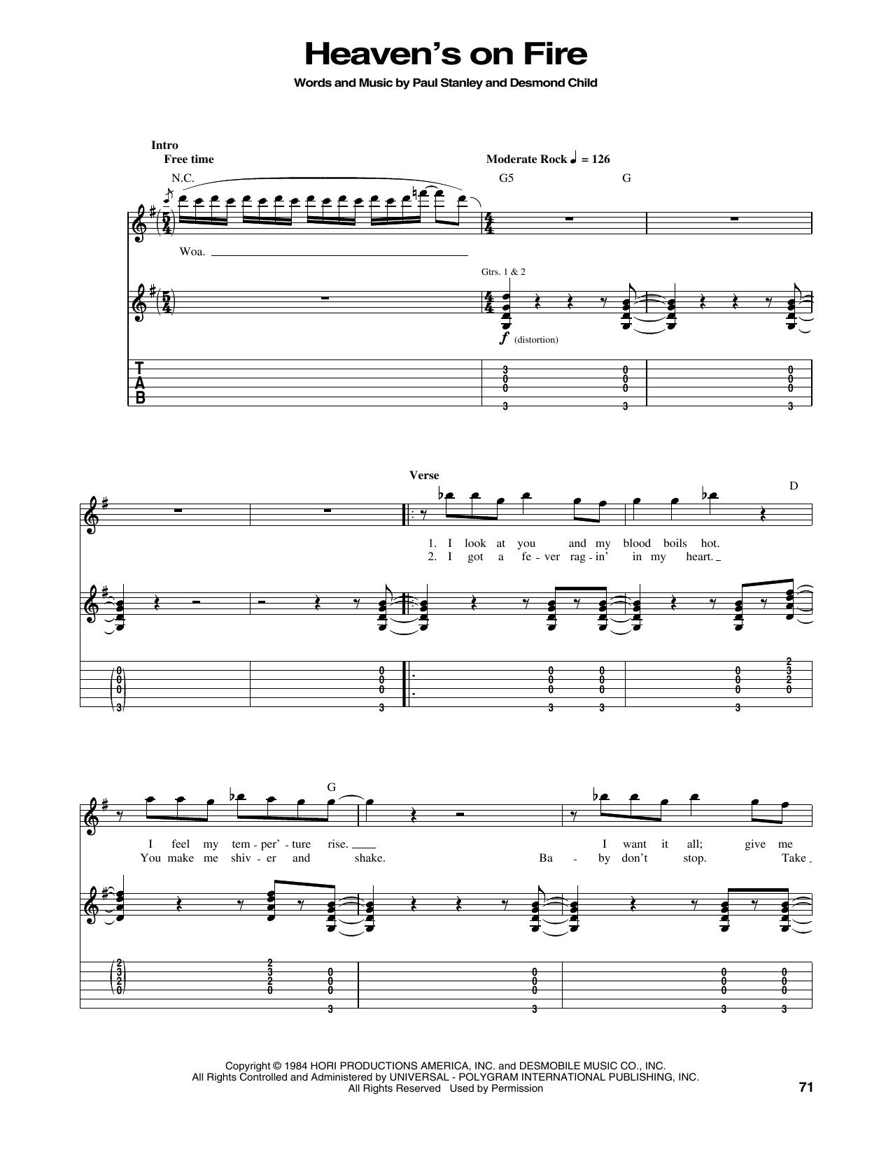 Tablature guitare Heaven's On Fire de Kiss - Tablature Guitare