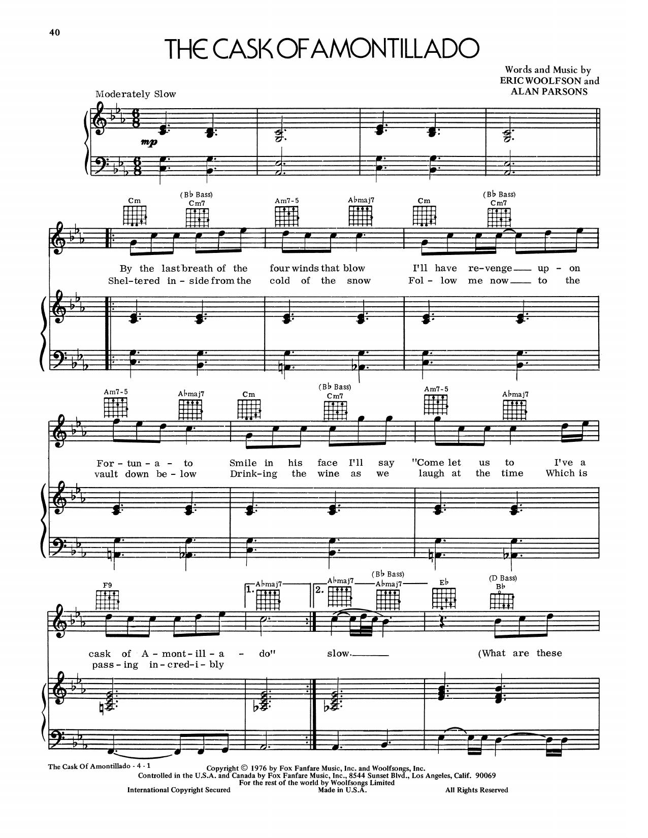 Partition piano The Cask Of Amontillado de The Alan Parsons Project - Piano Voix Guitare (Mélodie Main Droite)