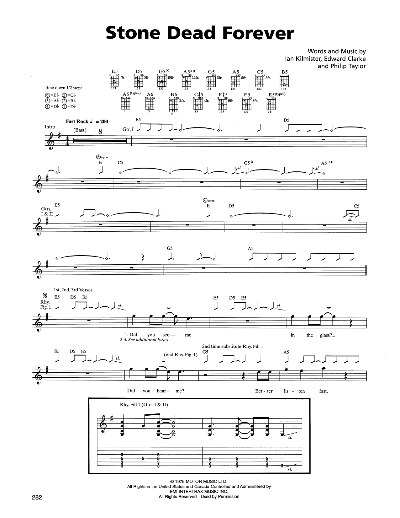 Tablature guitare Stone Dead Forever de Metallica - Tablature Guitare