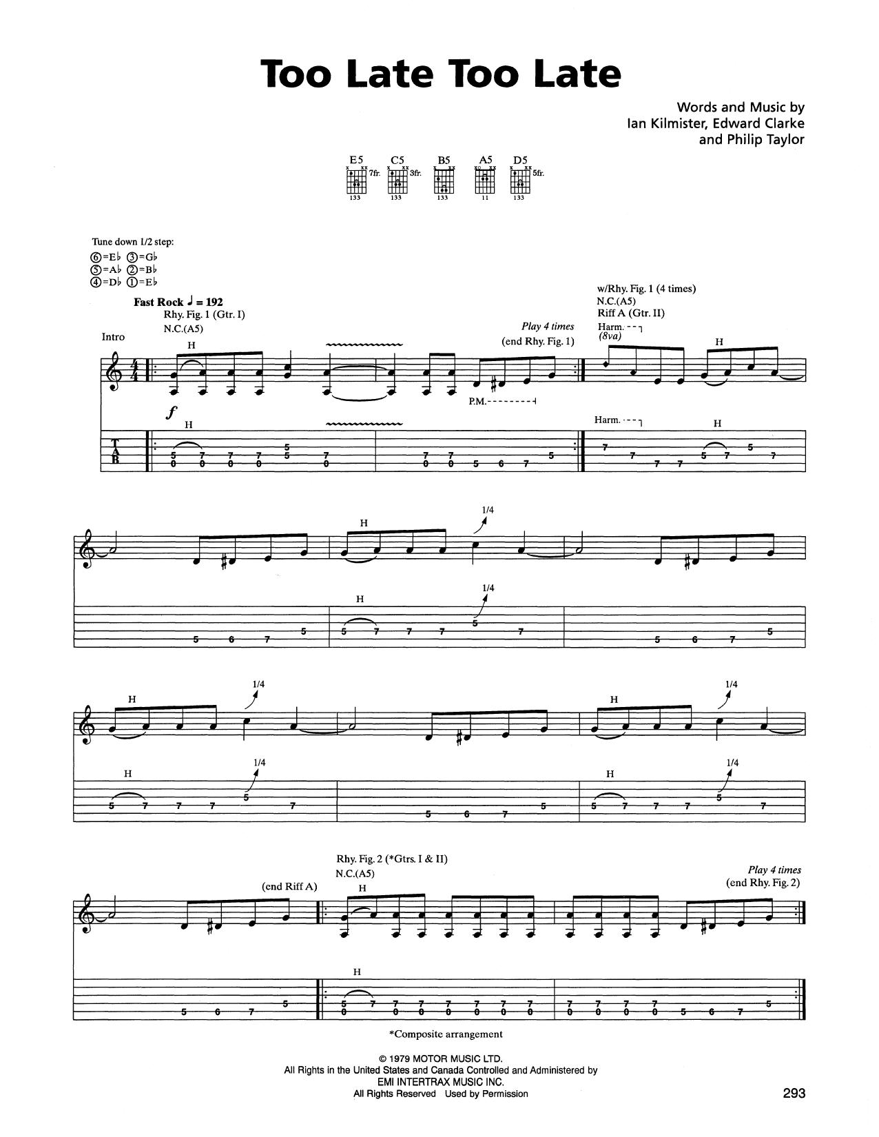 Tablature guitare Too Late Too Late de Metallica - Tablature Guitare