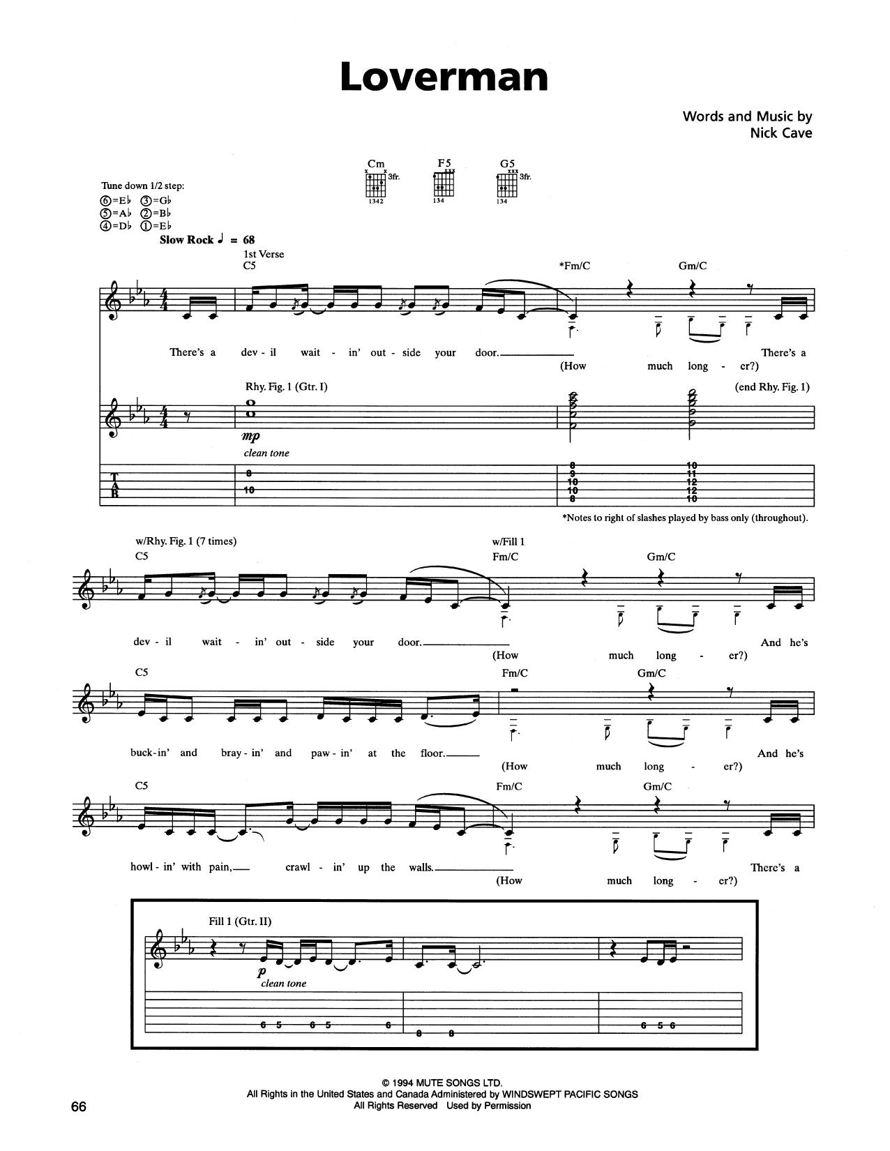 Tablature guitare Loverman de Metallica - Tablature Guitare