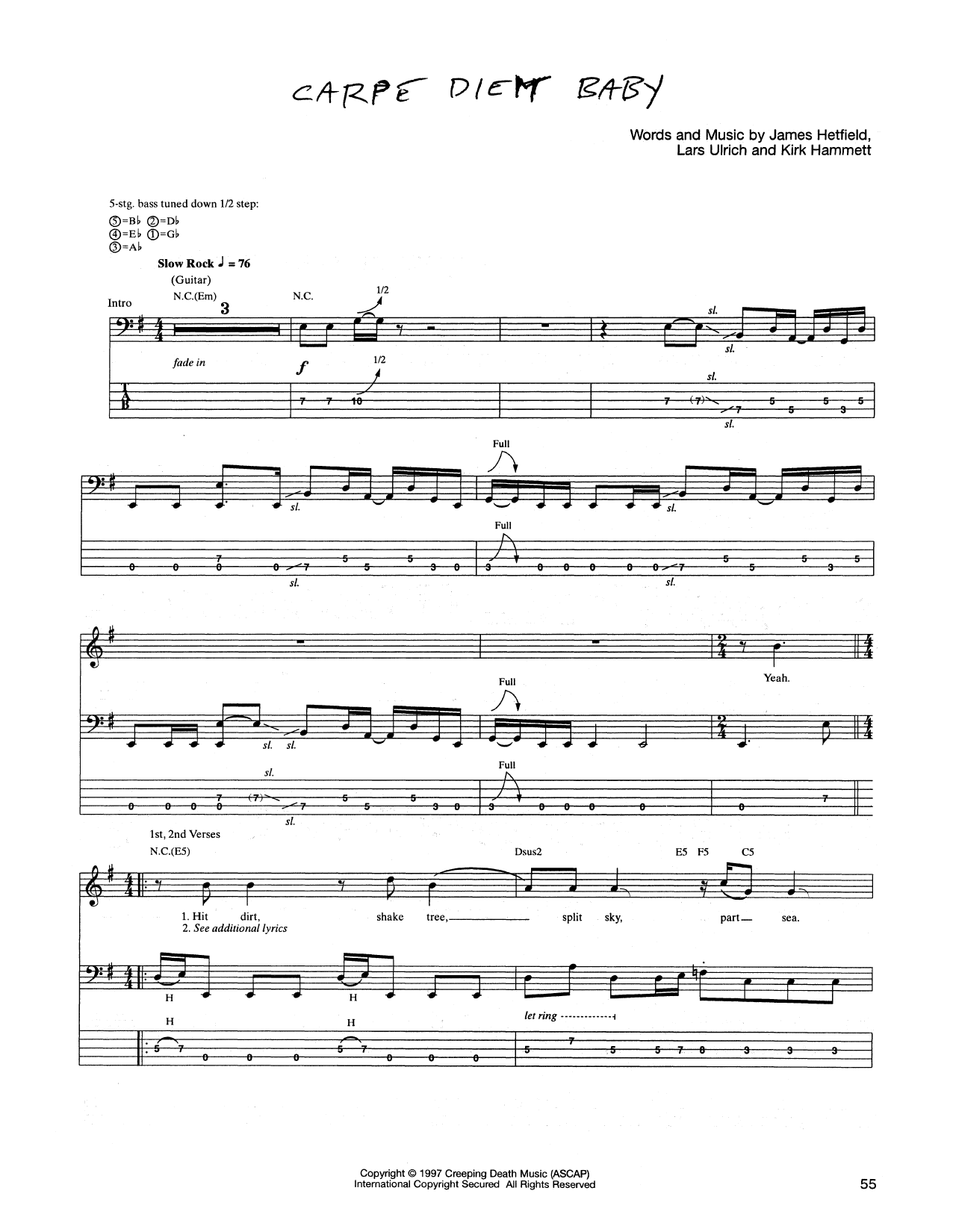 Tablature guitare Carpe Diem Baby de Metallica - Tablature Basse