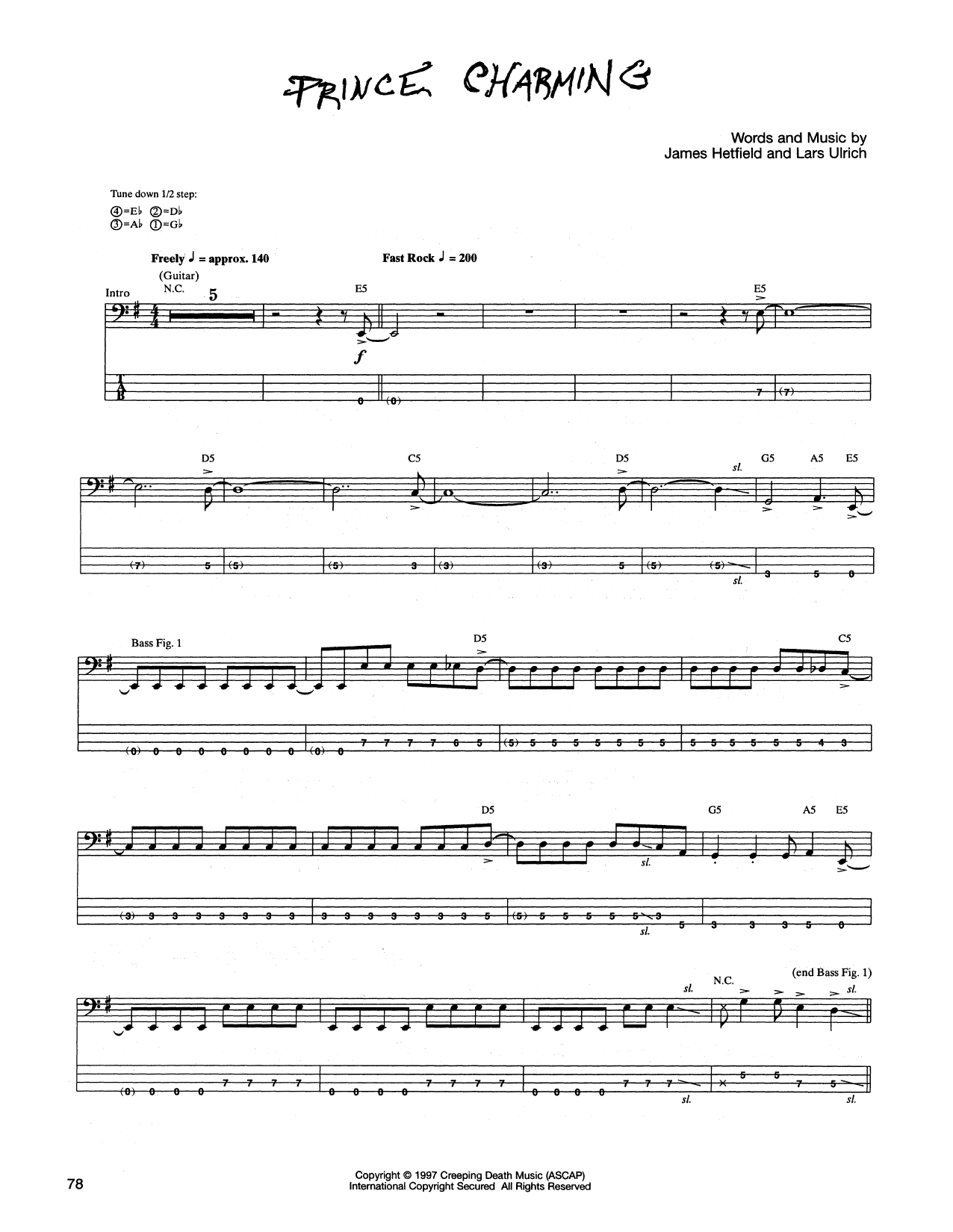 Tablature guitare Prince Charming de Metallica - Tablature Basse