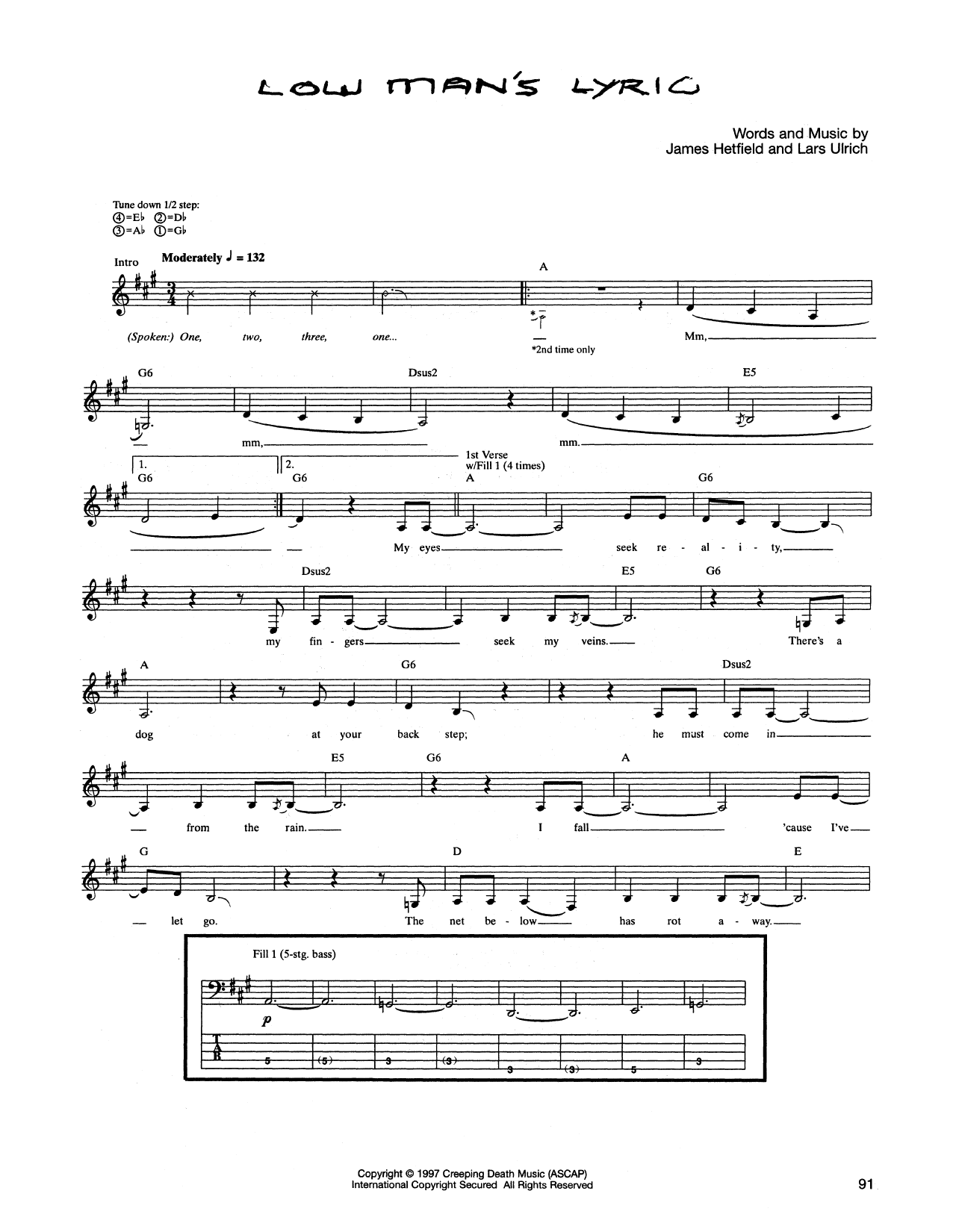 Tablature guitare Low Man's Lyric de Metallica - Tablature Basse