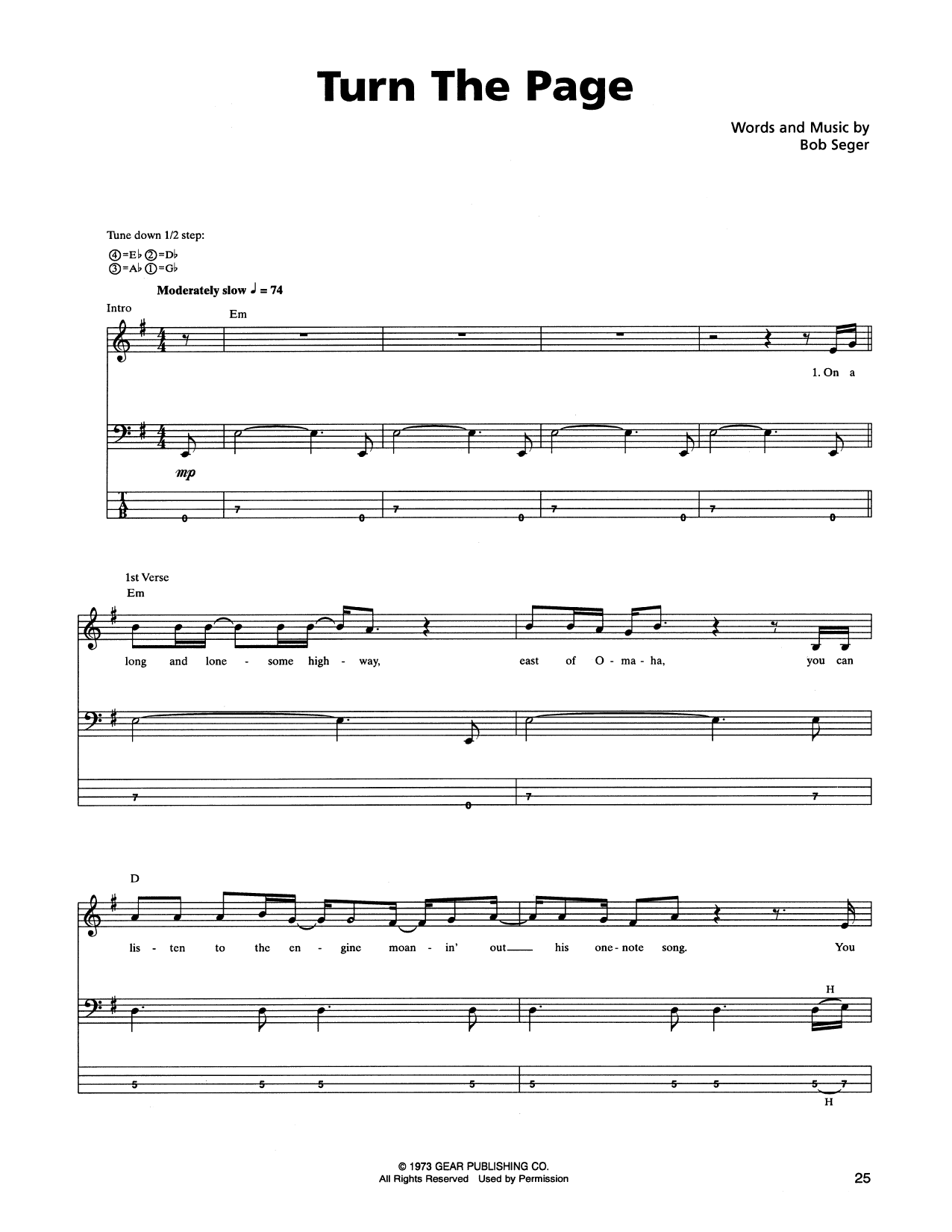 Tablature guitare Turn The Page de Metallica - Tablature Basse