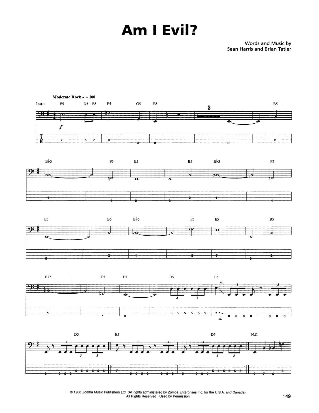 Tablature guitare Am I Evil? de Metallica - Tablature Basse