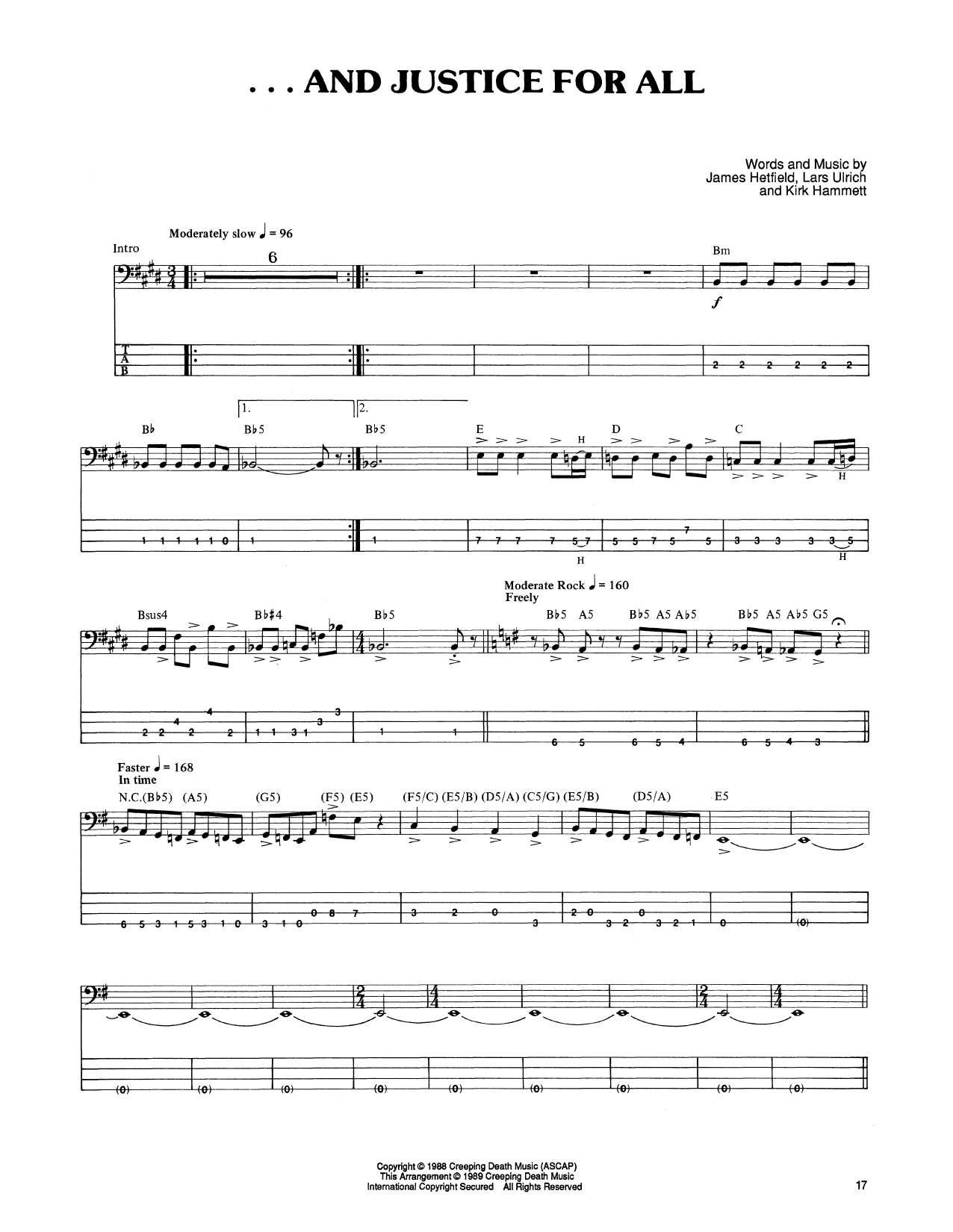 Tablature guitare ...And Justice For All de Metallica - Tablature Basse