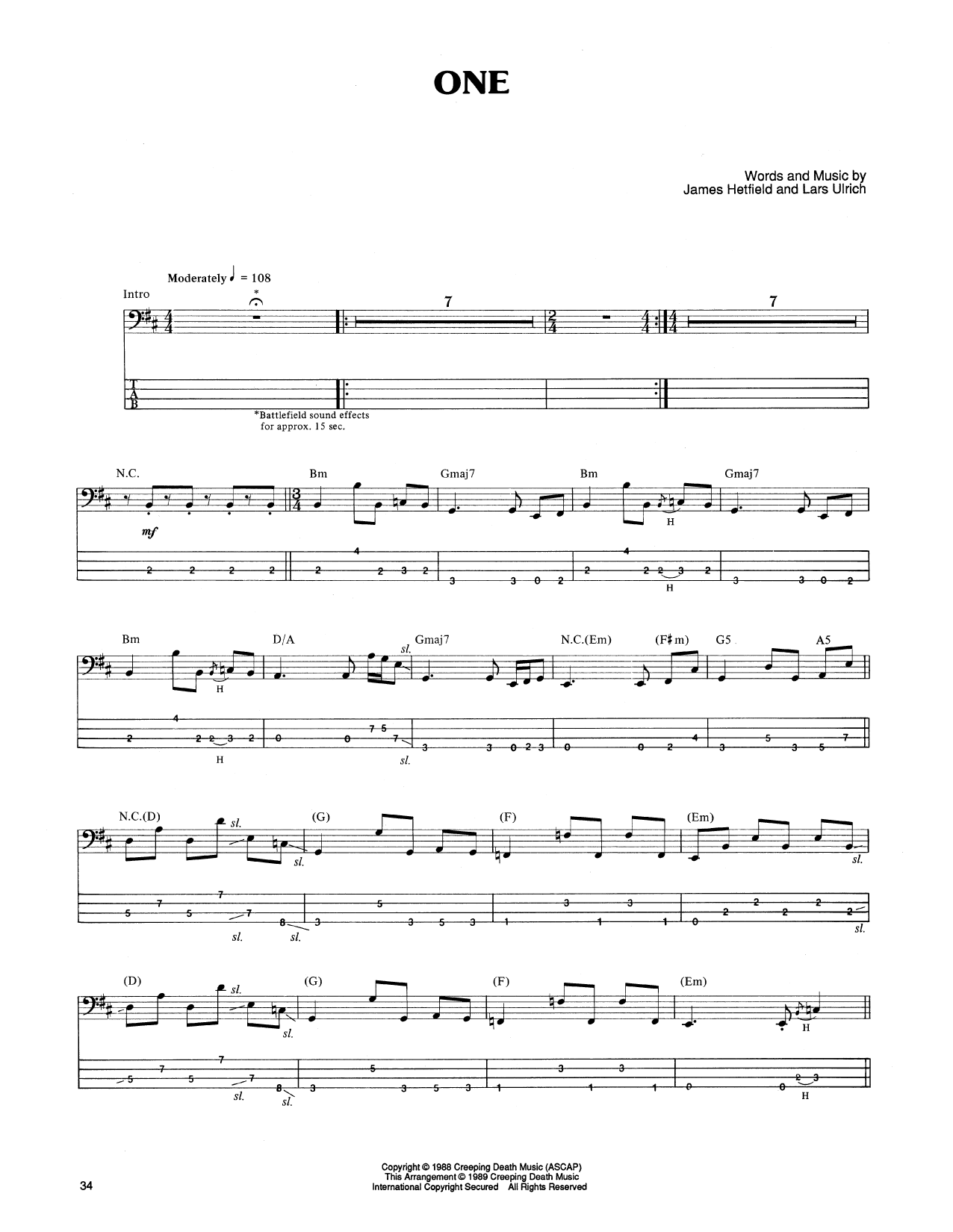 Tablature guitare One de Metallica - Tablature Basse