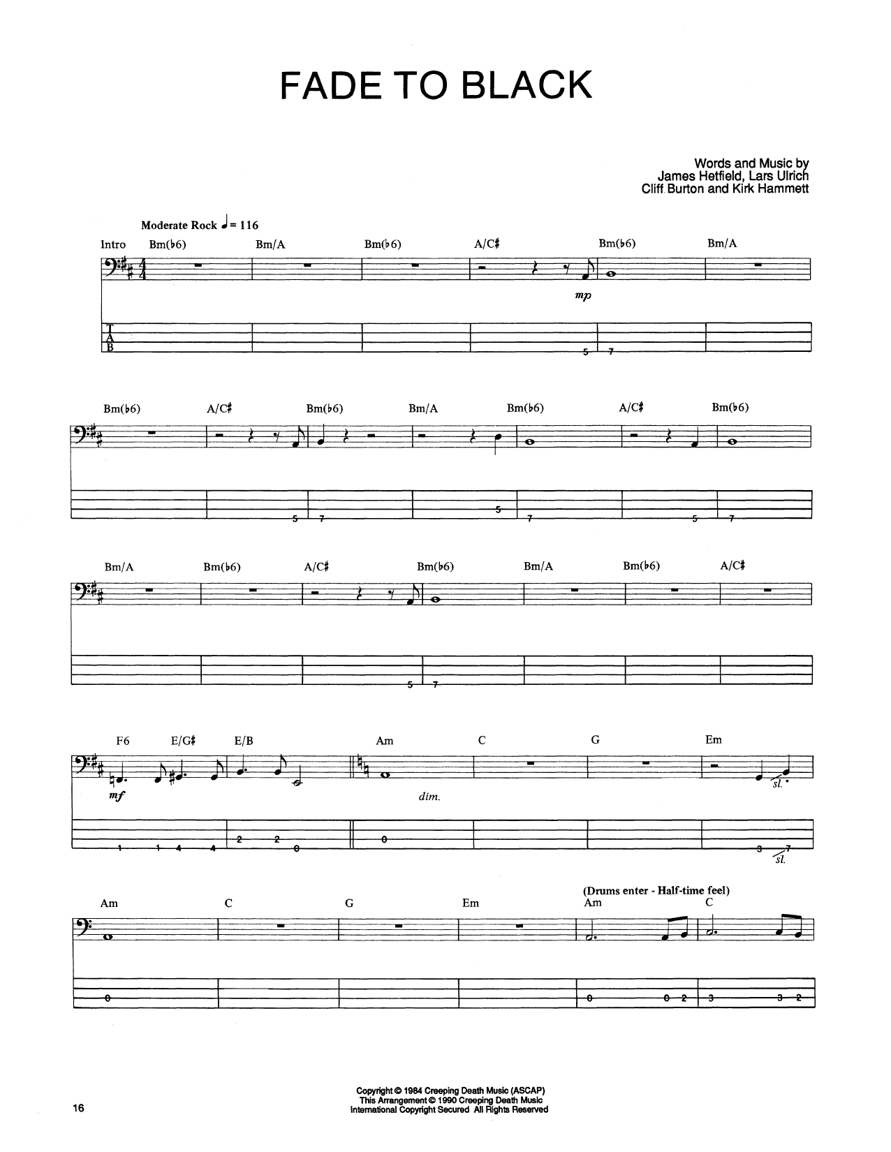 Tablature guitare Fade To Black de Metallica - Tablature Basse