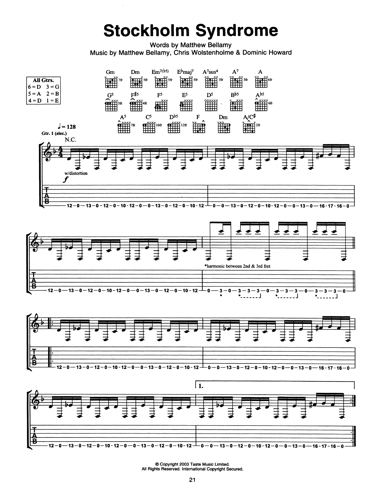 Tablature guitare Stockholm Syndrome de Muse - Tablature Guitare