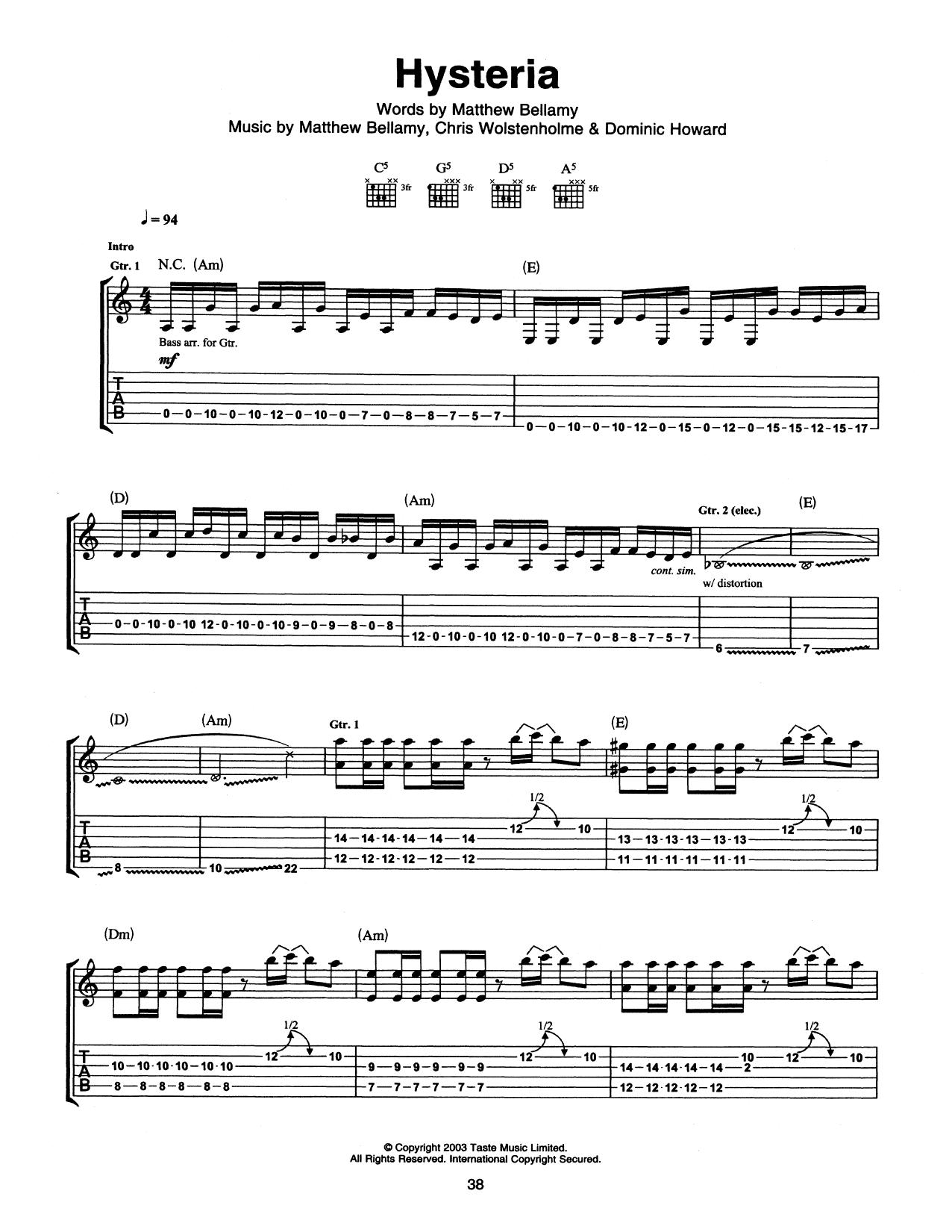 Tablature guitare Hysteria de Muse - Tablature Guitare