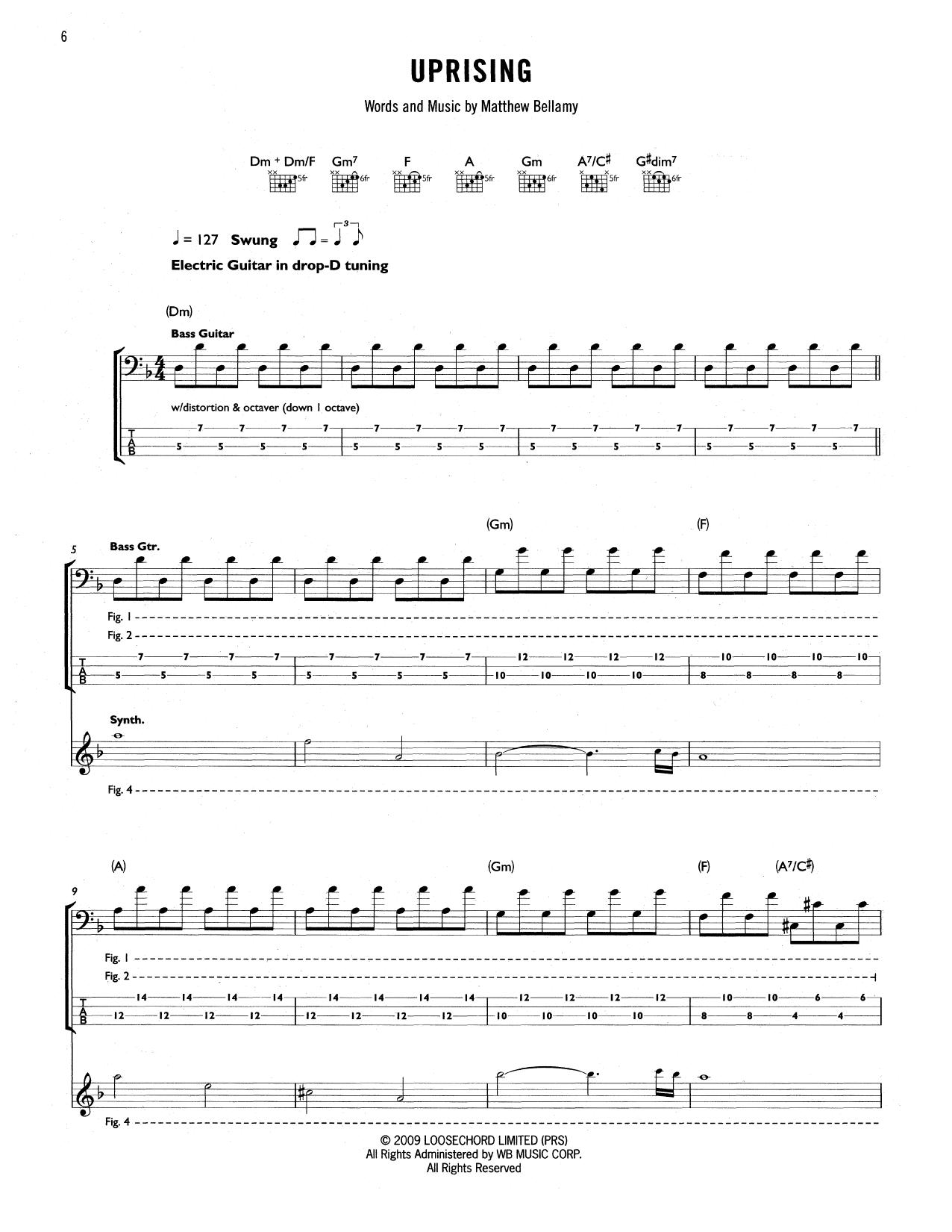 Tablature guitare Uprising de Muse - Tablature Guitare