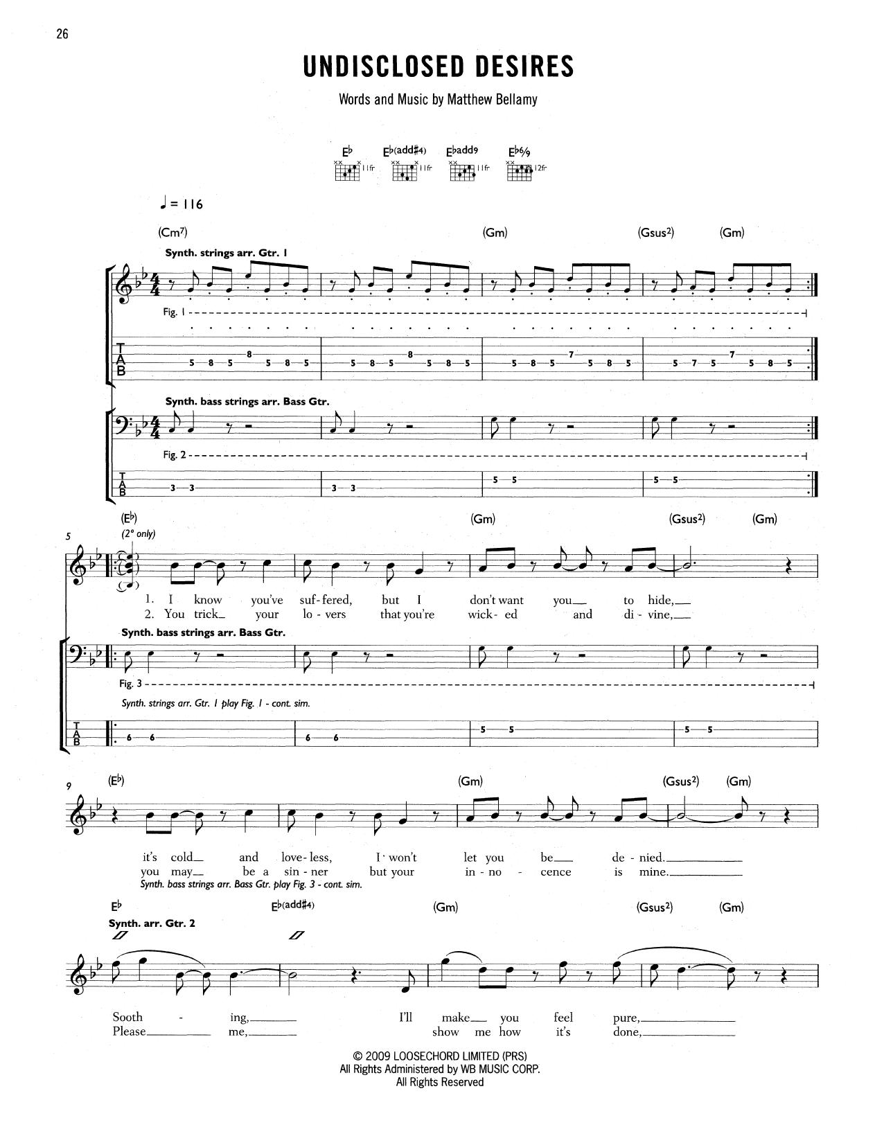 Tablature guitare Undisclosed Desires de Muse - Tablature Guitare