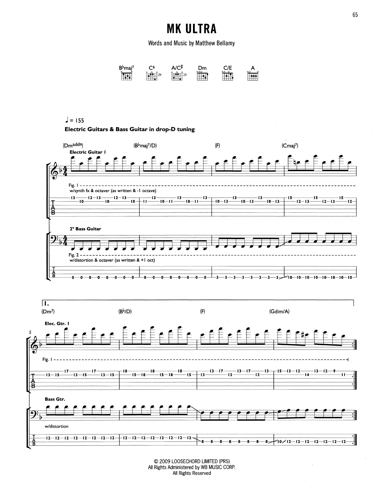 Tablature guitare MK Ultra de Muse - Tablature Guitare