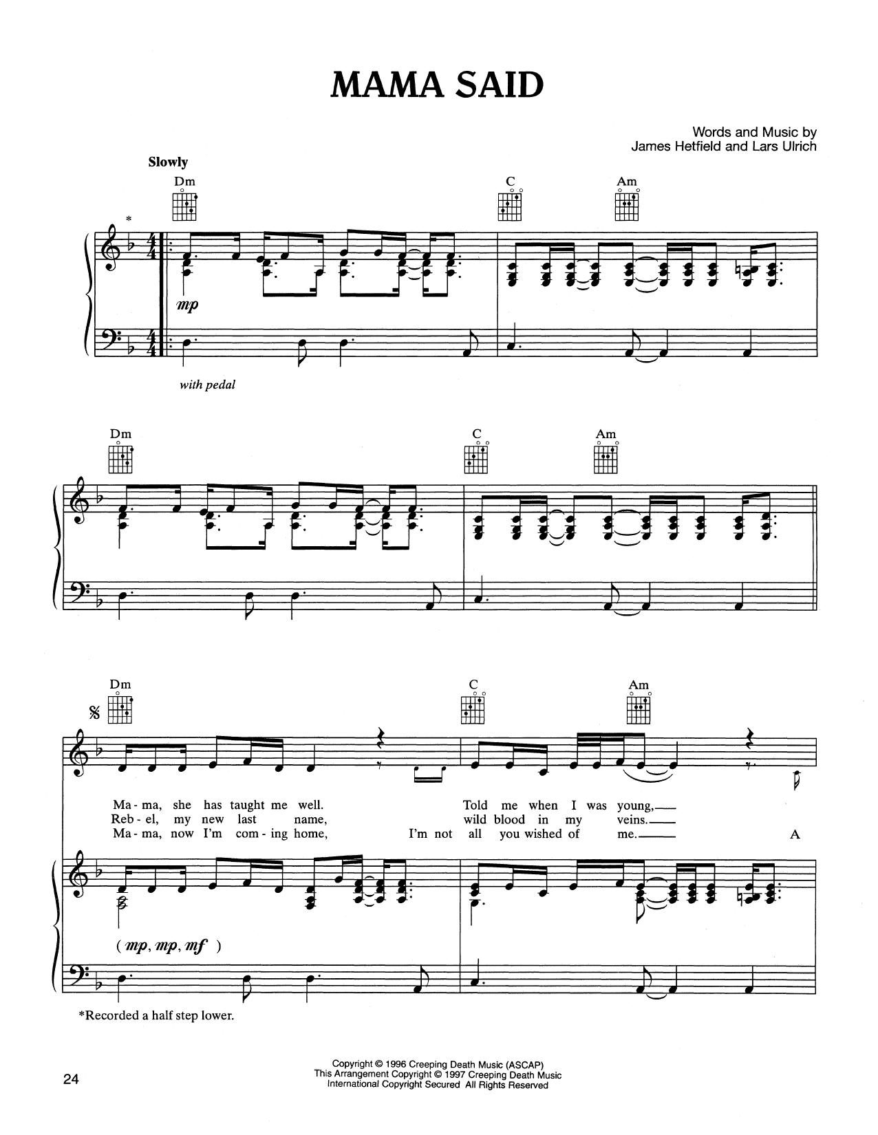 Partition piano Mama Said de Metallica - Piano Voix Guitare (Mélodie Main Droite)