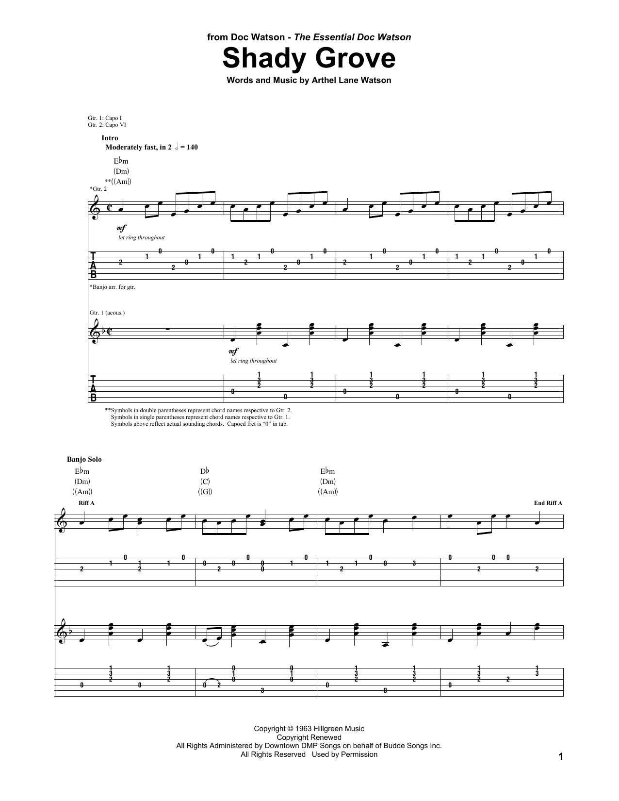 Shady grove sheet music direct for Shady grove