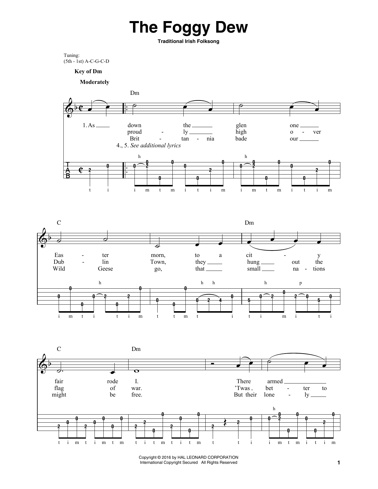 Partition piano The Foggy Dew de Traditional Irish Folk Song - Piano Voix Guitare (Mélodie Main Droite)