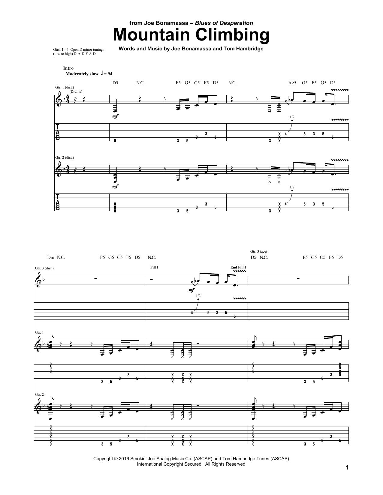 Tablature guitare Mountain Climbing de Joe Bonamassa - Tablature Guitare